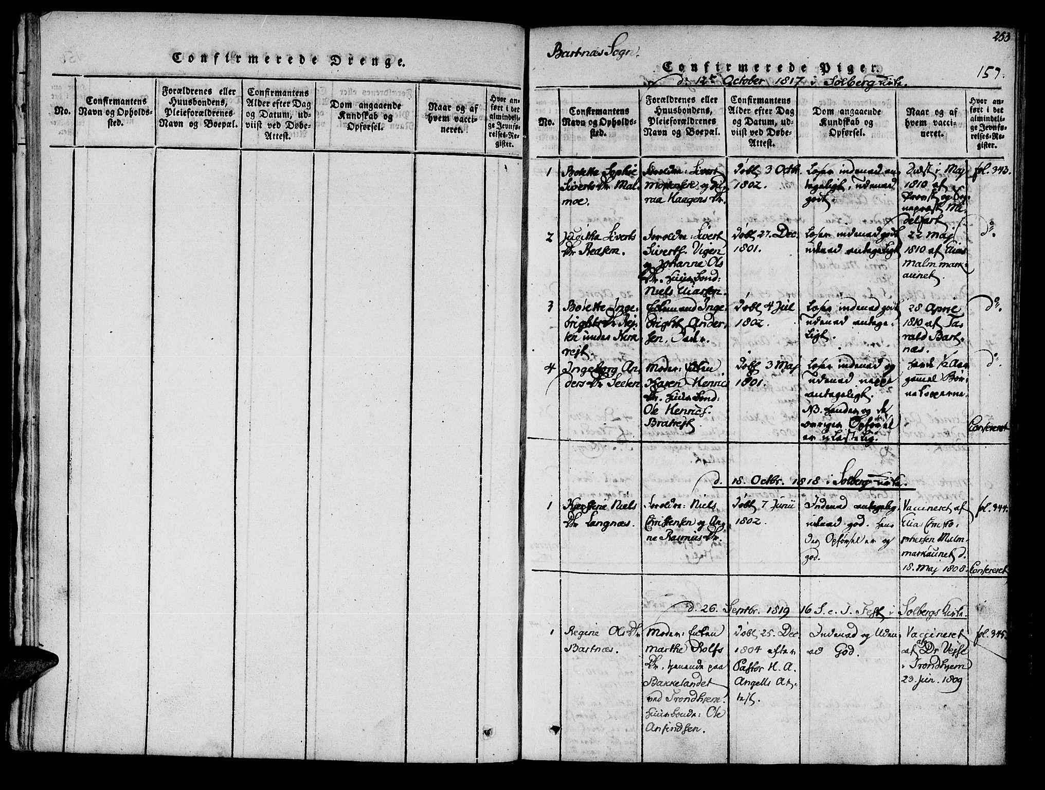 SAT, Ministerialprotokoller, klokkerbøker og fødselsregistre - Nord-Trøndelag, 741/L0387: Ministerialbok nr. 741A03 /2, 1817-1822, s. 157