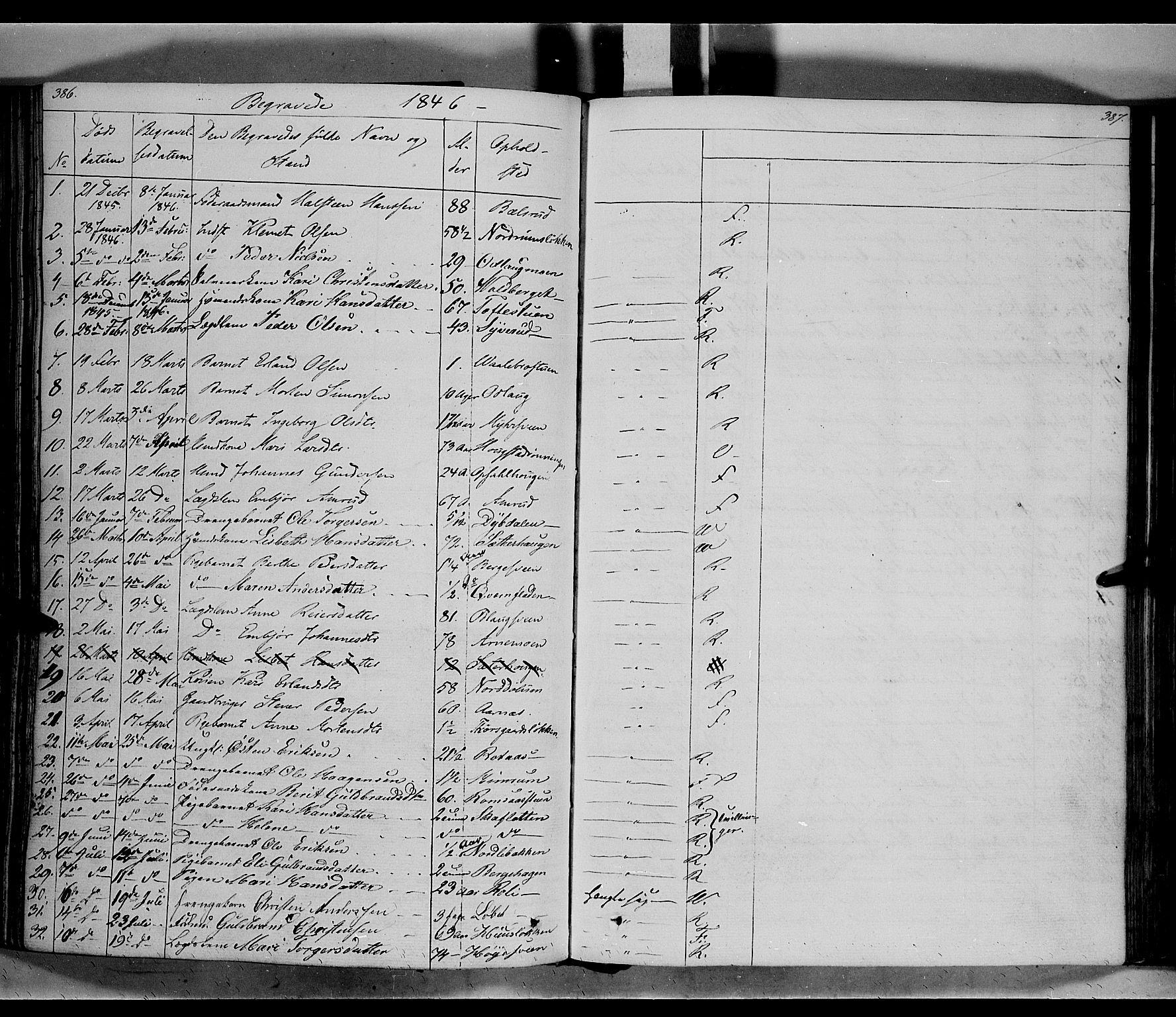 SAH, Ringebu prestekontor, Ministerialbok nr. 5, 1839-1848, s. 386-387