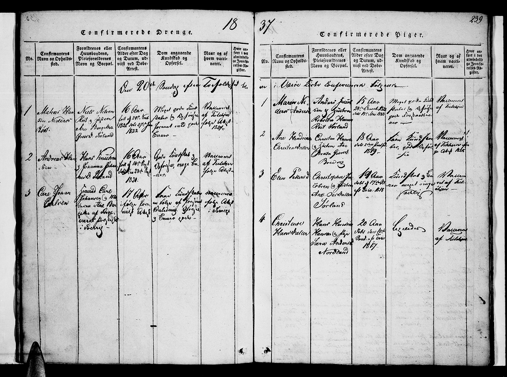SAT, Ministerialprotokoller, klokkerbøker og fødselsregistre - Nordland, 807/L0120: Ministerialbok nr. 807A03, 1821-1848, s. 239
