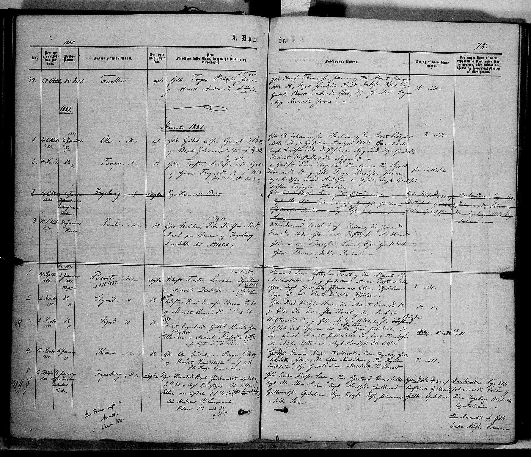 SAH, Vang prestekontor, Valdres, Ministerialbok nr. 7, 1865-1881, s. 78