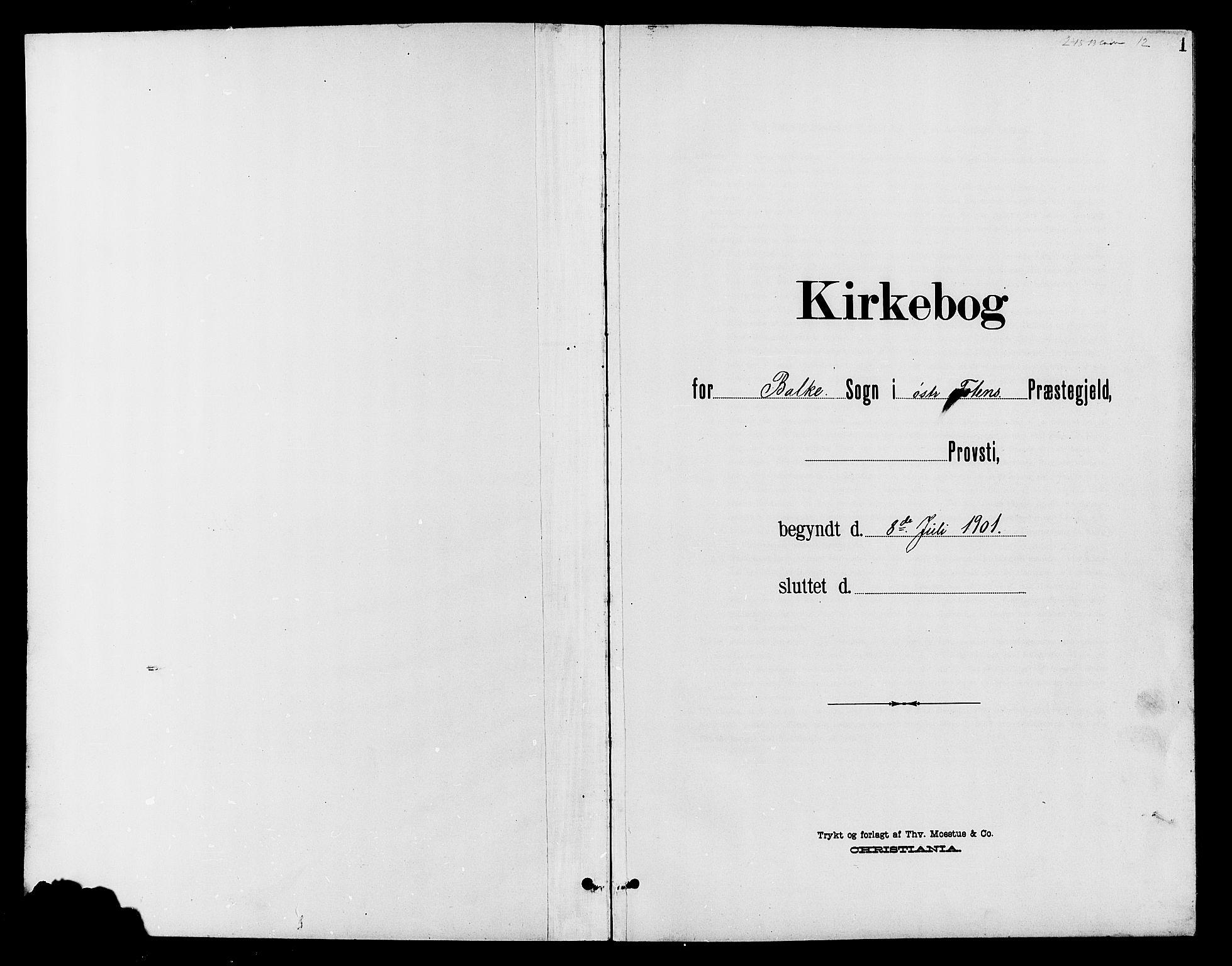SAH, Østre Toten prestekontor, Klokkerbok nr. 7, 1901-1912, s. 1