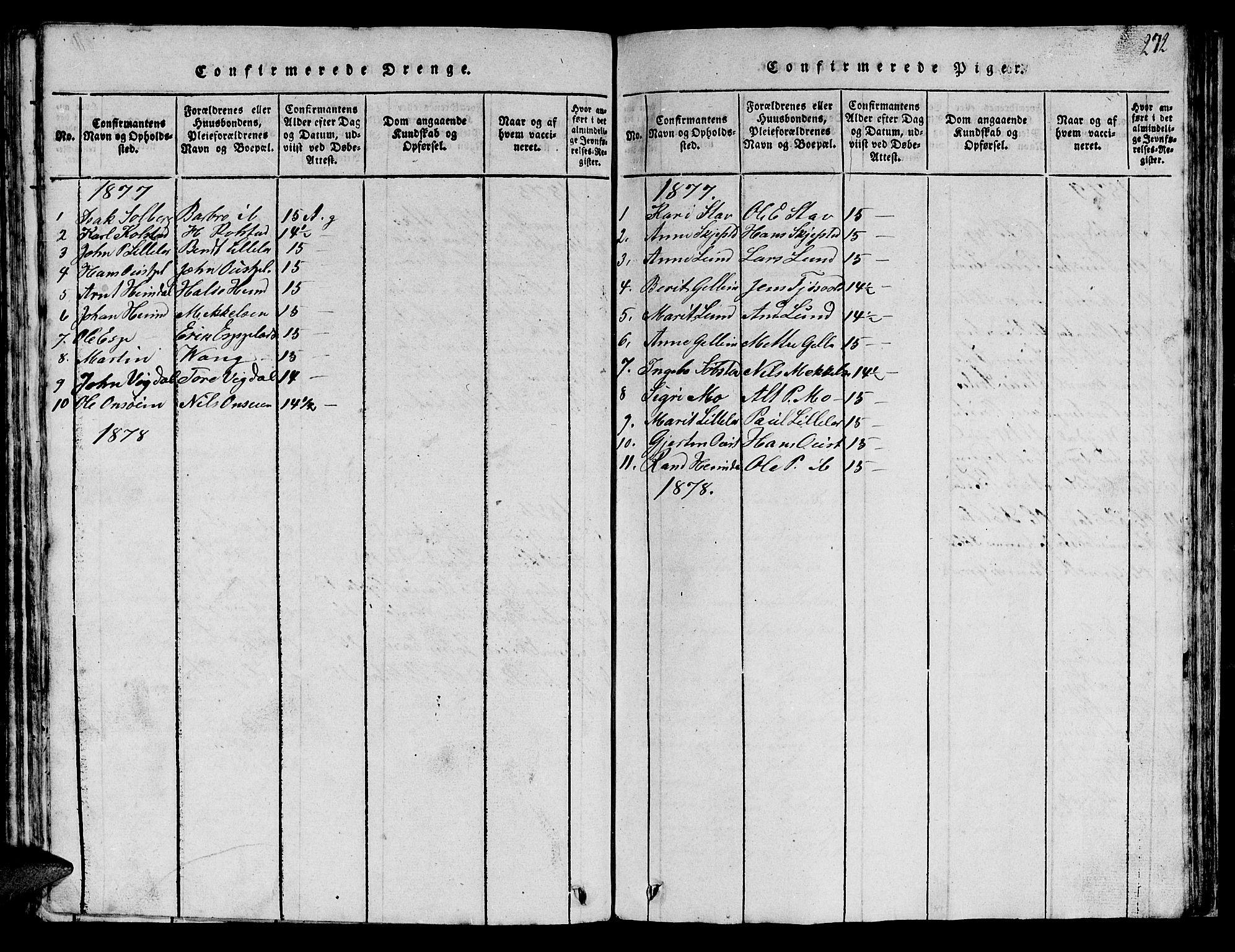 SAT, Ministerialprotokoller, klokkerbøker og fødselsregistre - Sør-Trøndelag, 613/L0393: Klokkerbok nr. 613C01, 1816-1886, s. 272