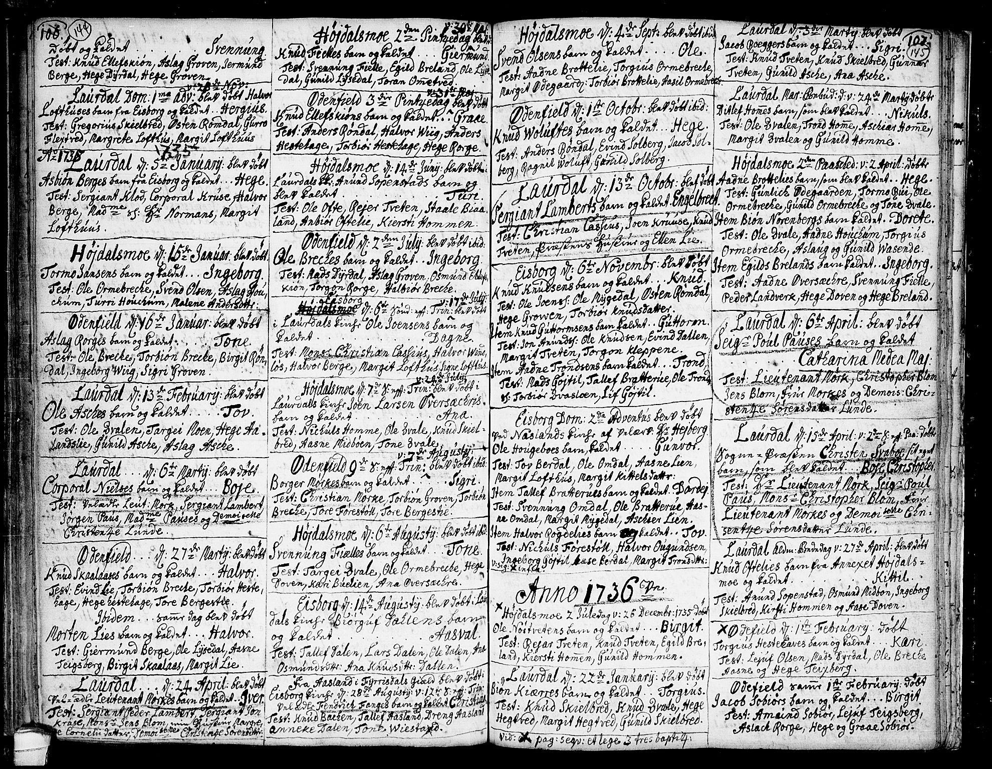 SAKO, Lårdal kirkebøker, F/Fa/L0002: Ministerialbok nr. I 2, 1734-1754, s. 144-145