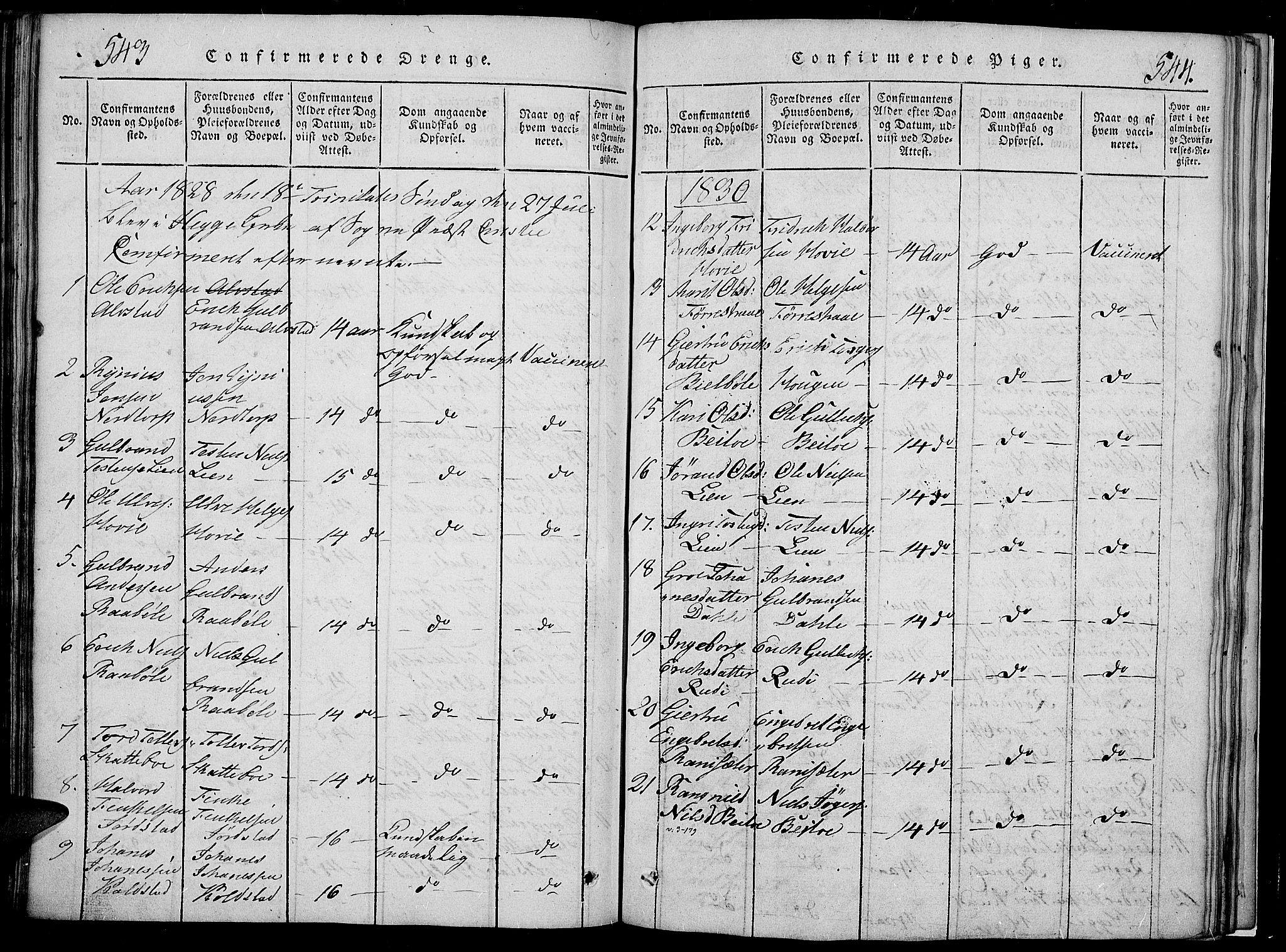 SAH, Slidre prestekontor, Klokkerbok nr. 2, 1814-1839, s. 543-544