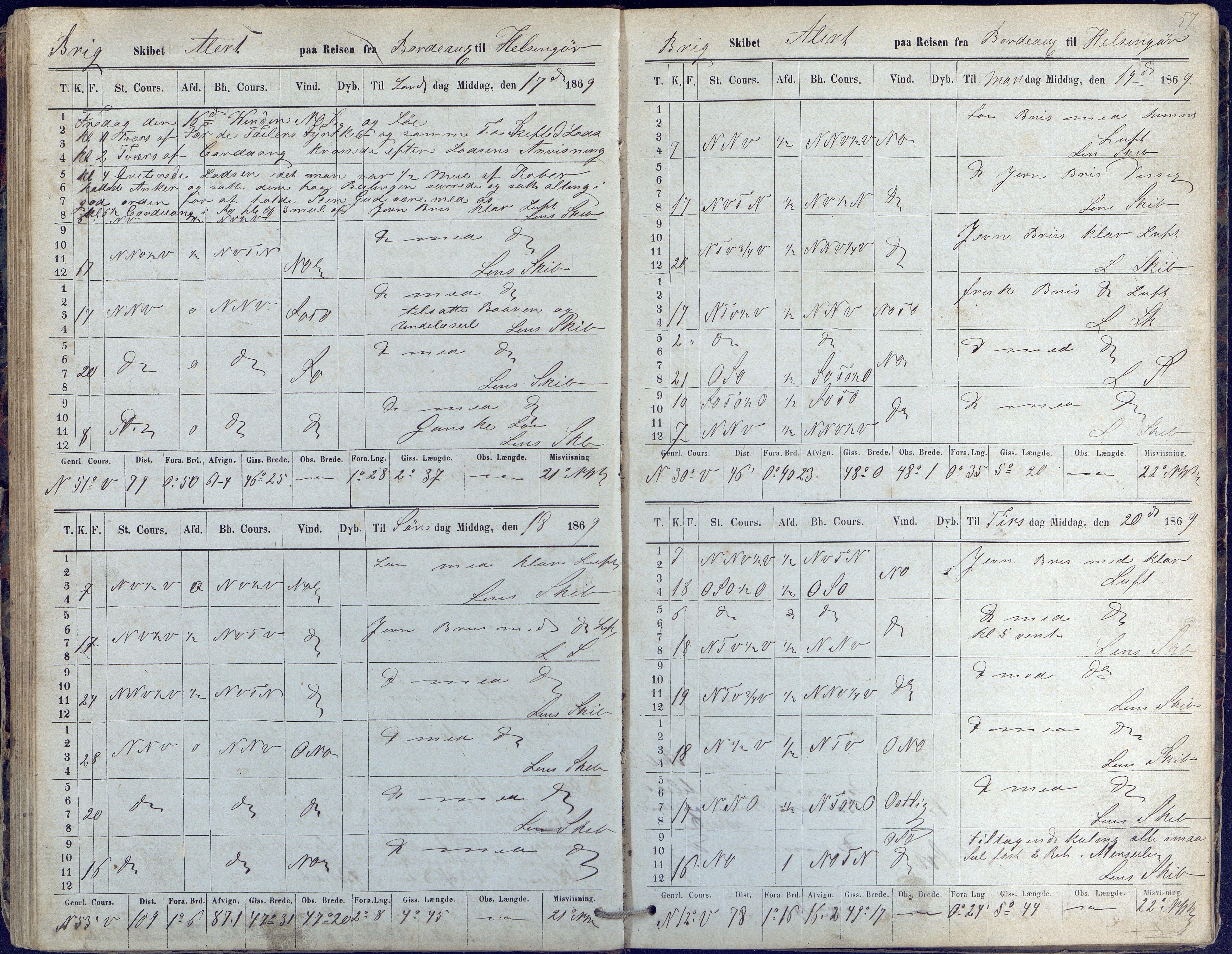 AAKS, Fartøysarkivet, F/L0015: Alert (brigg), 1868-1874, s. 57