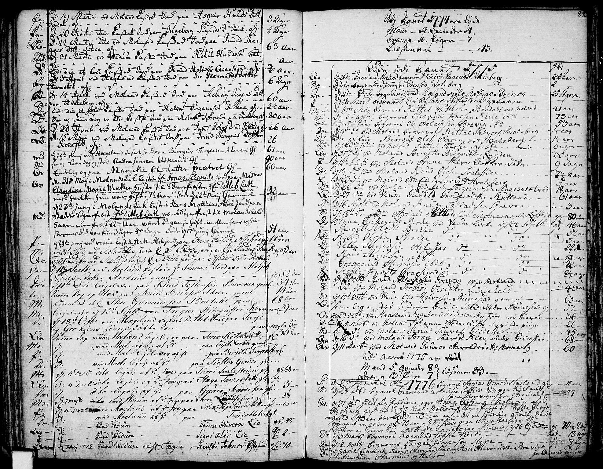 SAKO, Fyresdal kirkebøker, F/Fa/L0002: Ministerialbok nr. I 2, 1769-1814, s. 88