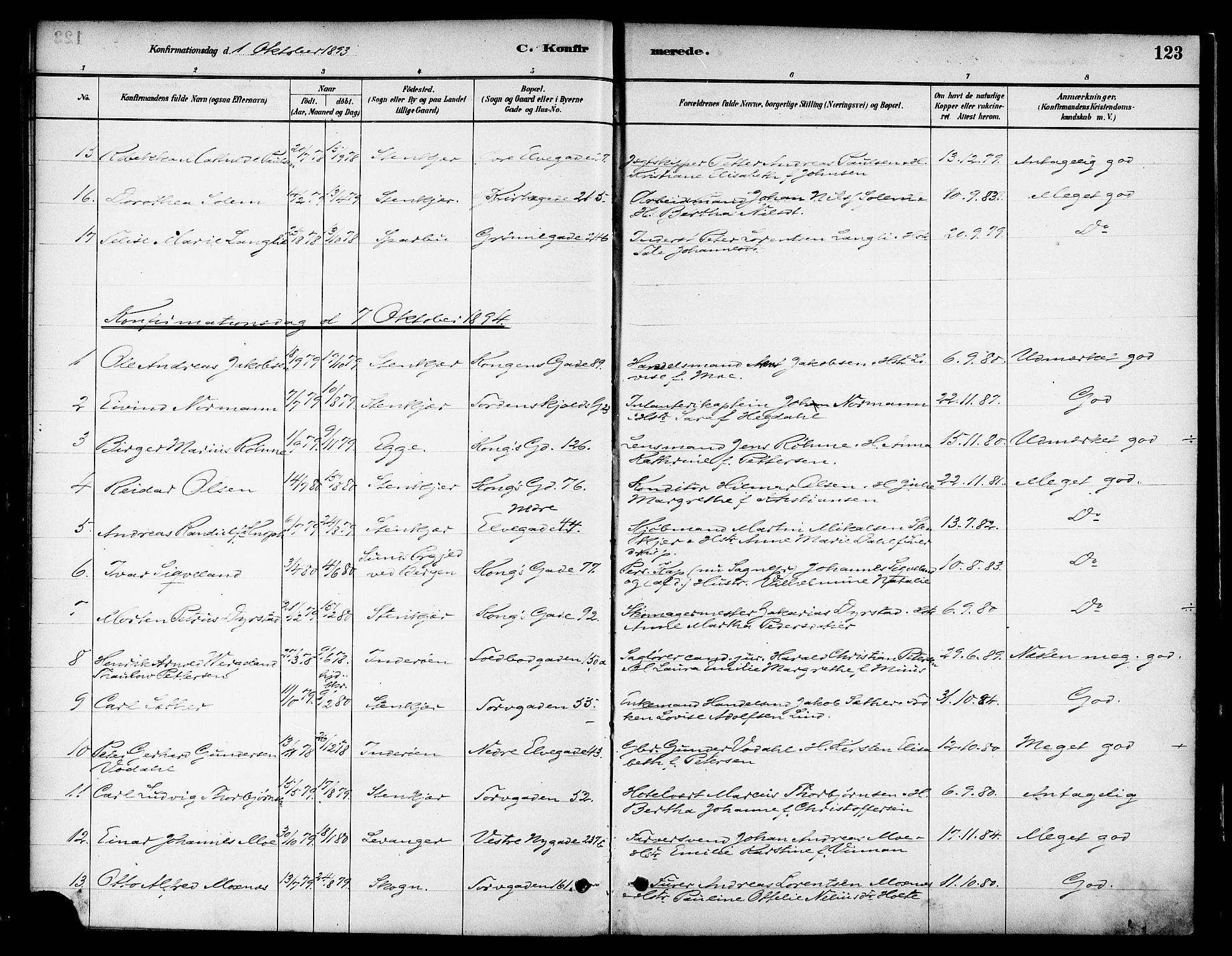 SAT, Ministerialprotokoller, klokkerbøker og fødselsregistre - Nord-Trøndelag, 739/L0371: Ministerialbok nr. 739A03, 1881-1895, s. 123