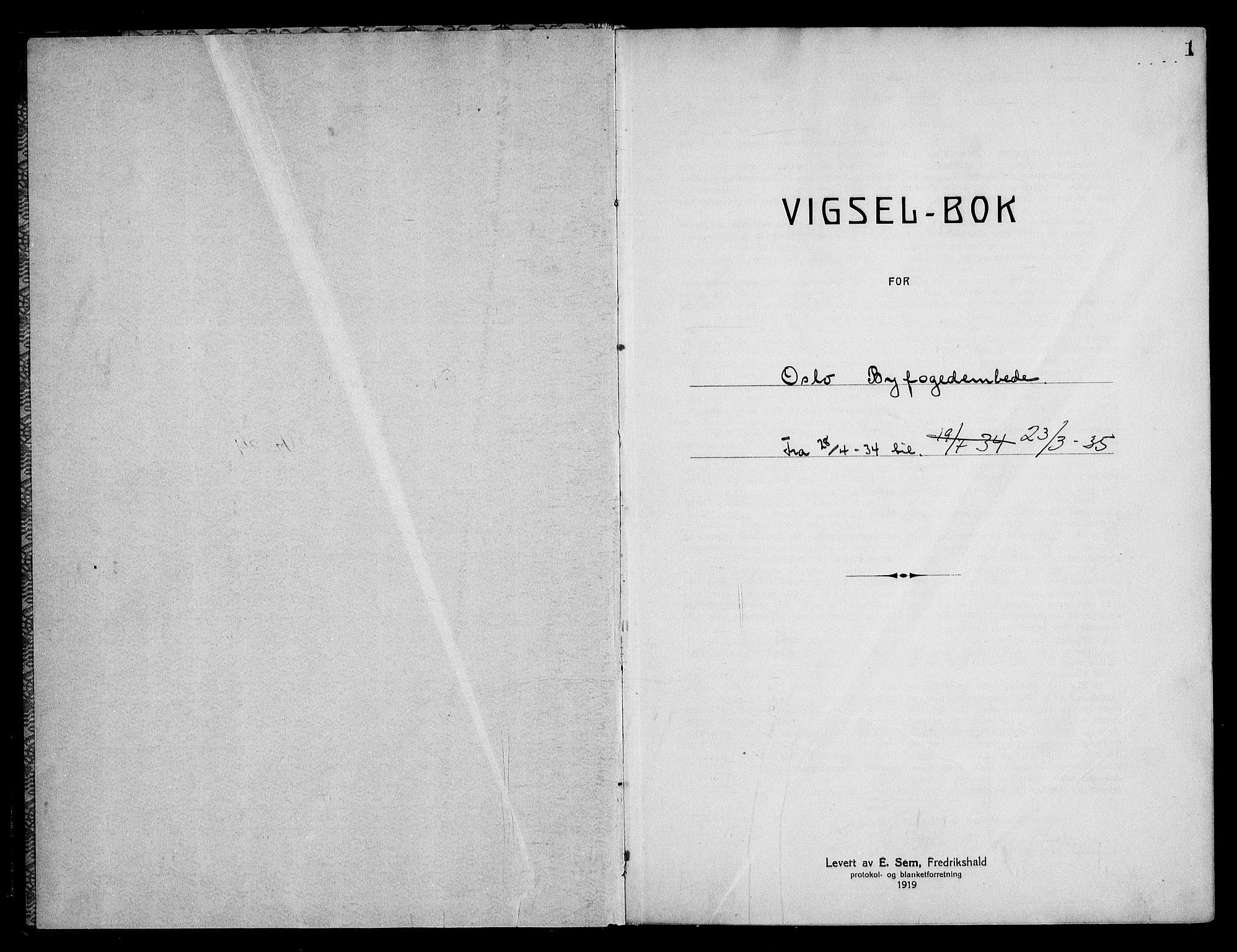 SAO, Oslo byfogd avd. I, L/Lb/Lbb/L0024: Notarialprotokoll, rekke II: Vigsler, 1934-1935, s. 1a
