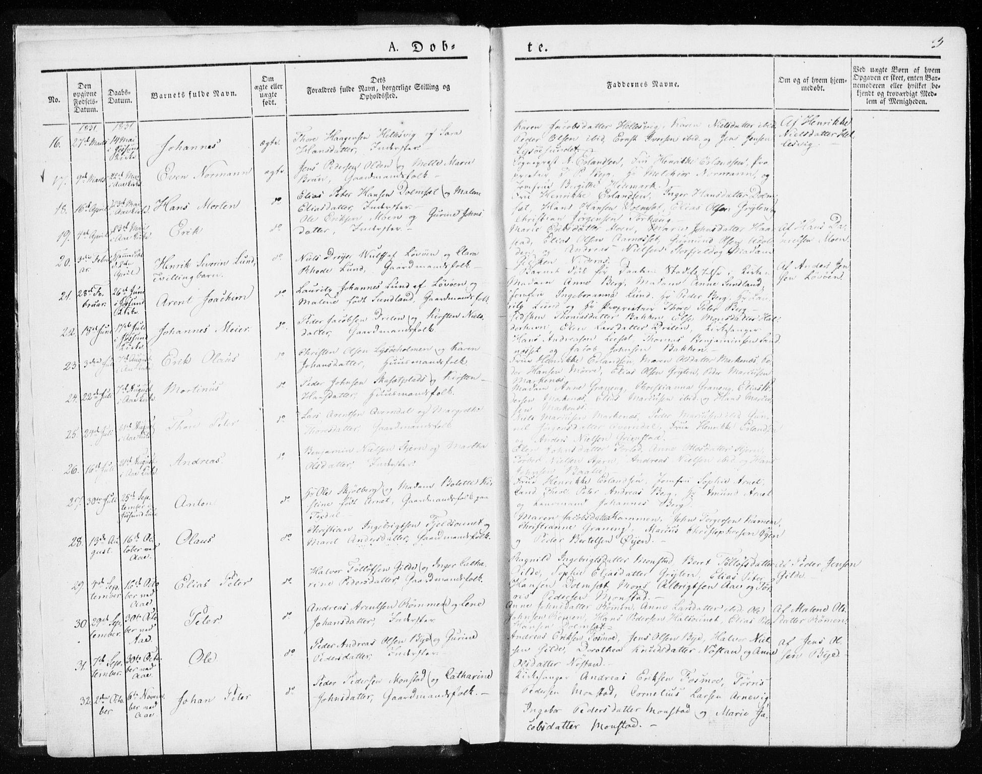SAT, Ministerialprotokoller, klokkerbøker og fødselsregistre - Sør-Trøndelag, 655/L0676: Ministerialbok nr. 655A05, 1830-1847, s. 3