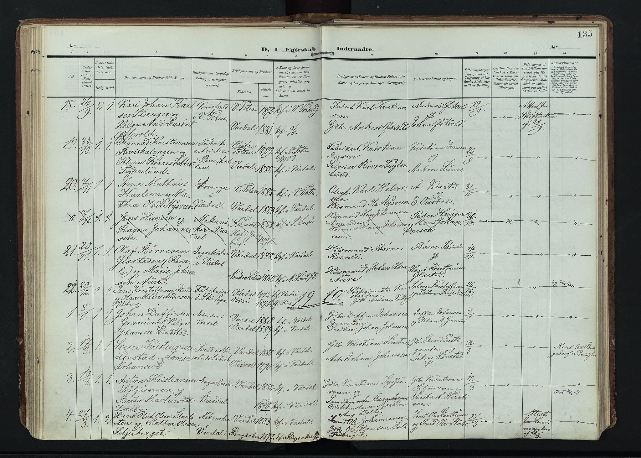 SAH, Vardal prestekontor, H/Ha/Haa/L0020: Ministerialbok nr. 20, 1907-1921, s. 135