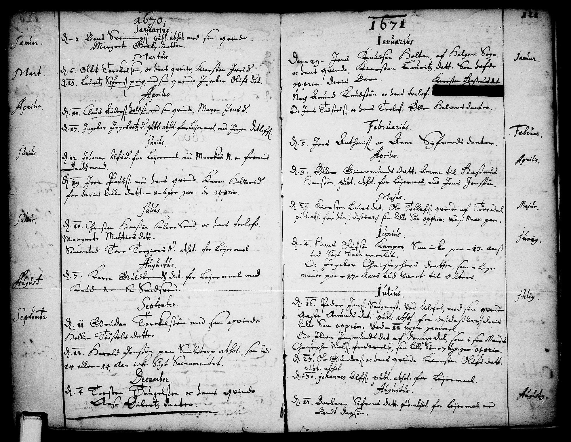 SAKO, Skien kirkebøker, F/Fa/L0001: Ministerialbok nr. 1, 1659-1679, s. 121