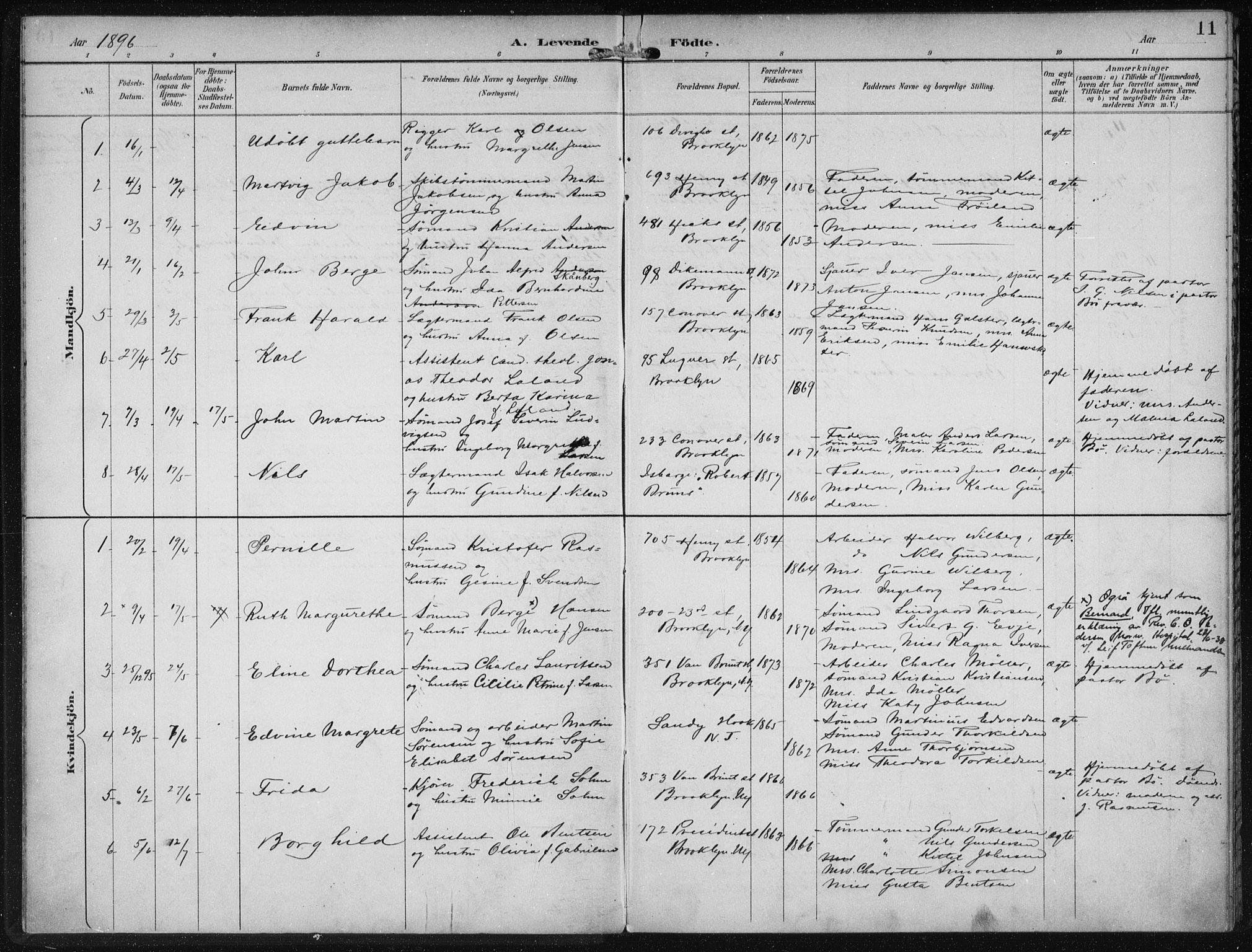 SAB, Privatarkiv 110 - Den norske sjømannsmisjon i utlandet/New York, H/Ha/L0004: Ministerialbok nr. A 4, 1893-1901, s. 11