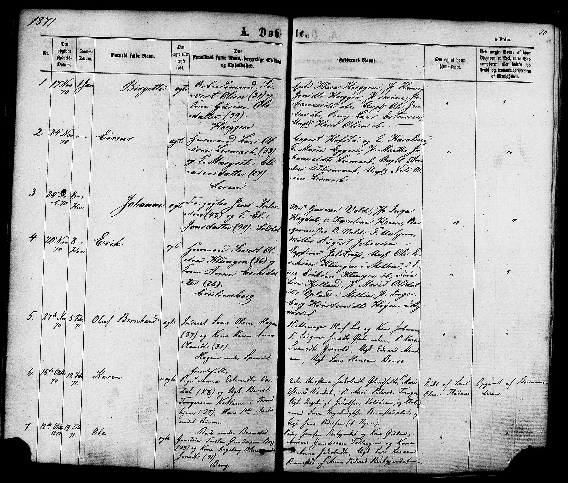 SAT, Ministerialprotokoller, klokkerbøker og fødselsregistre - Sør-Trøndelag, 606/L0293: Ministerialbok nr. 606A08, 1866-1877, s. 70