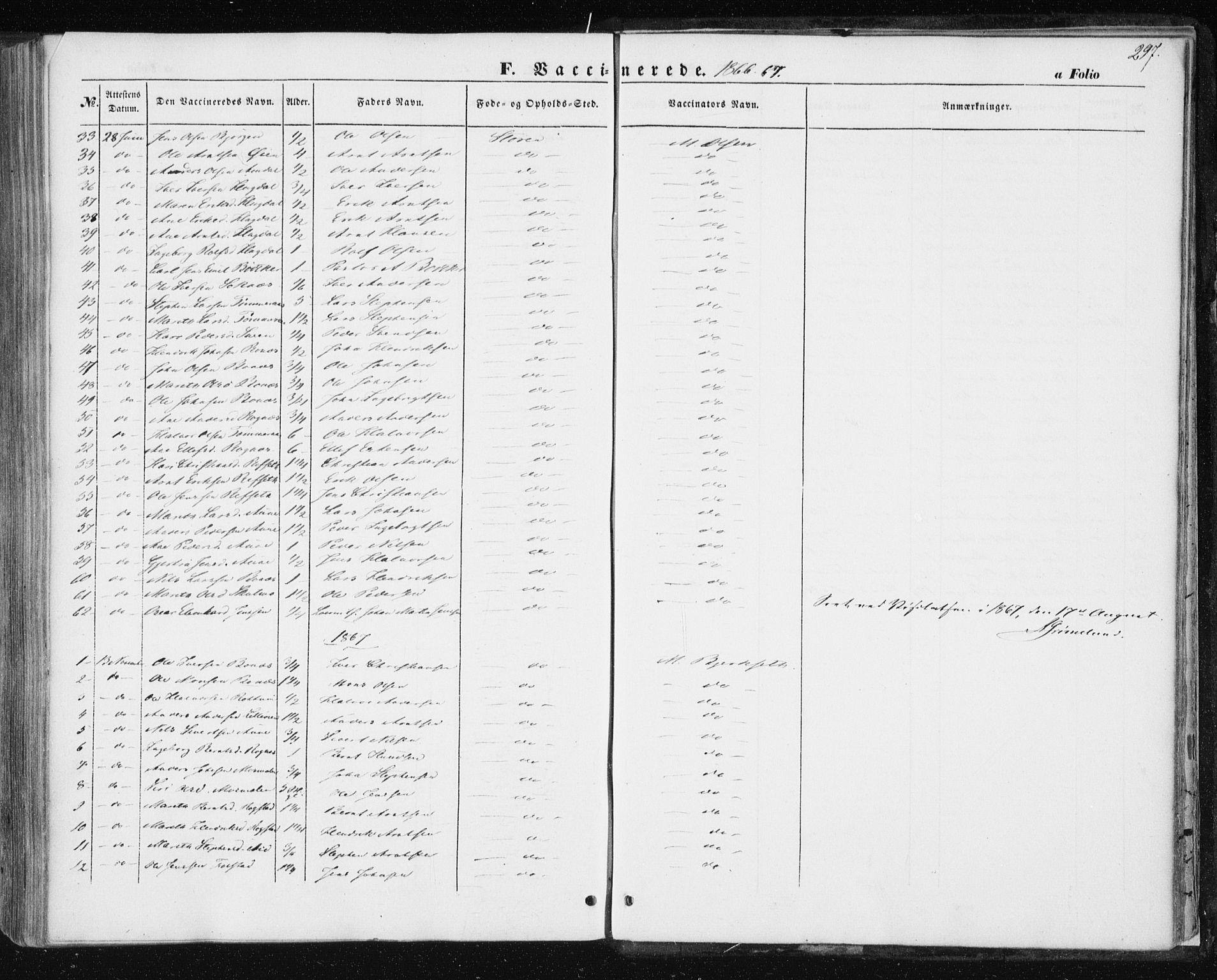 SAT, Ministerialprotokoller, klokkerbøker og fødselsregistre - Sør-Trøndelag, 687/L1000: Ministerialbok nr. 687A06, 1848-1869, s. 297