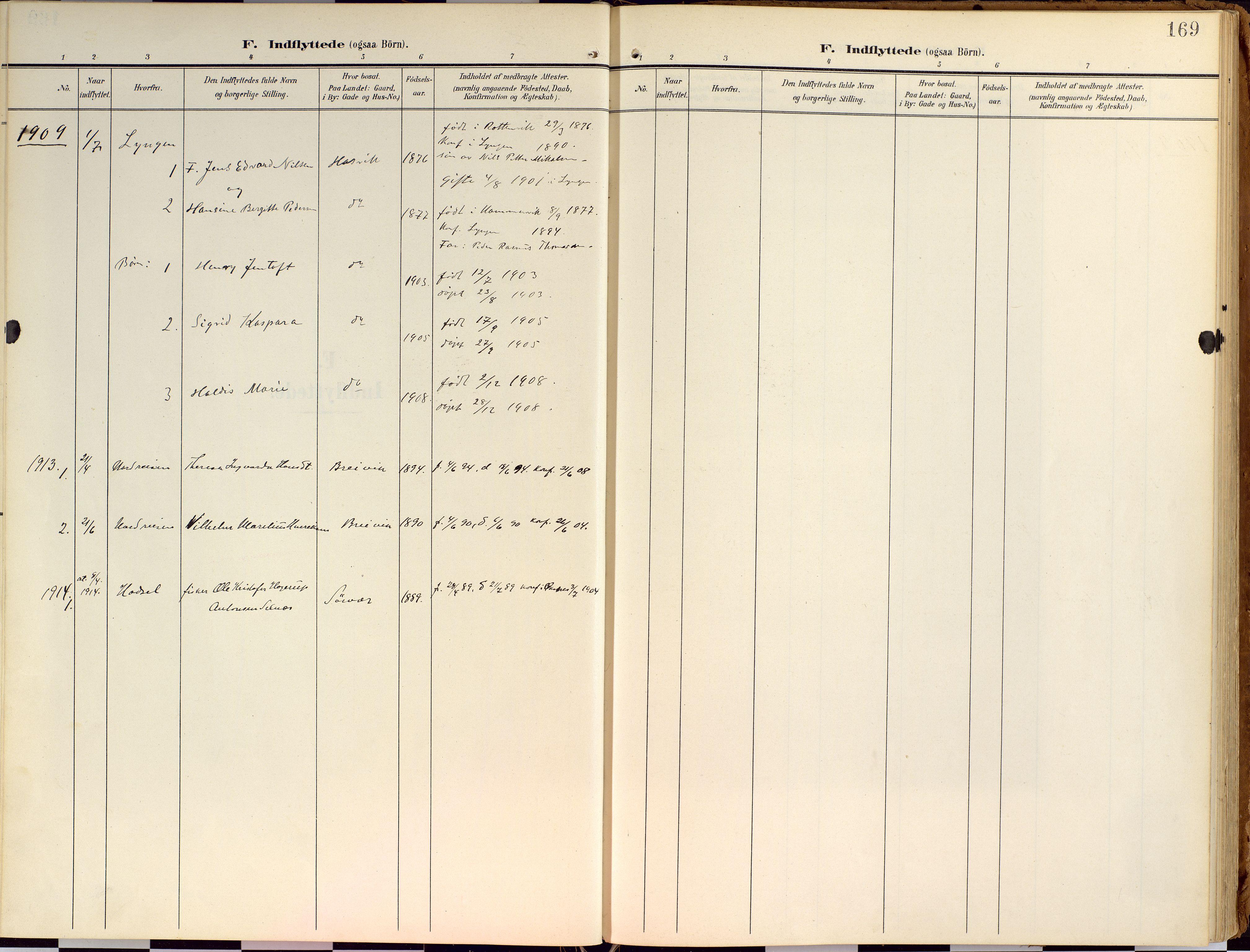 SATØ, Loppa sokneprestkontor, H/Ha/L0010kirke: Ministerialbok nr. 10, 1907-1922, s. 169