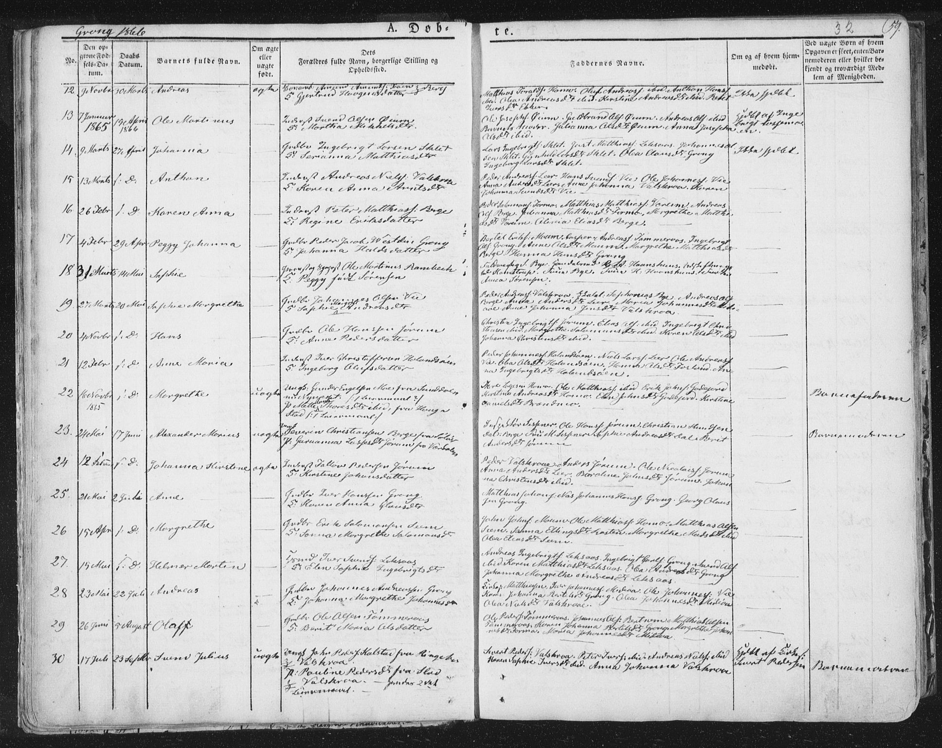 SAT, Ministerialprotokoller, klokkerbøker og fødselsregistre - Nord-Trøndelag, 758/L0513: Ministerialbok nr. 758A02 /1, 1839-1868, s. 32