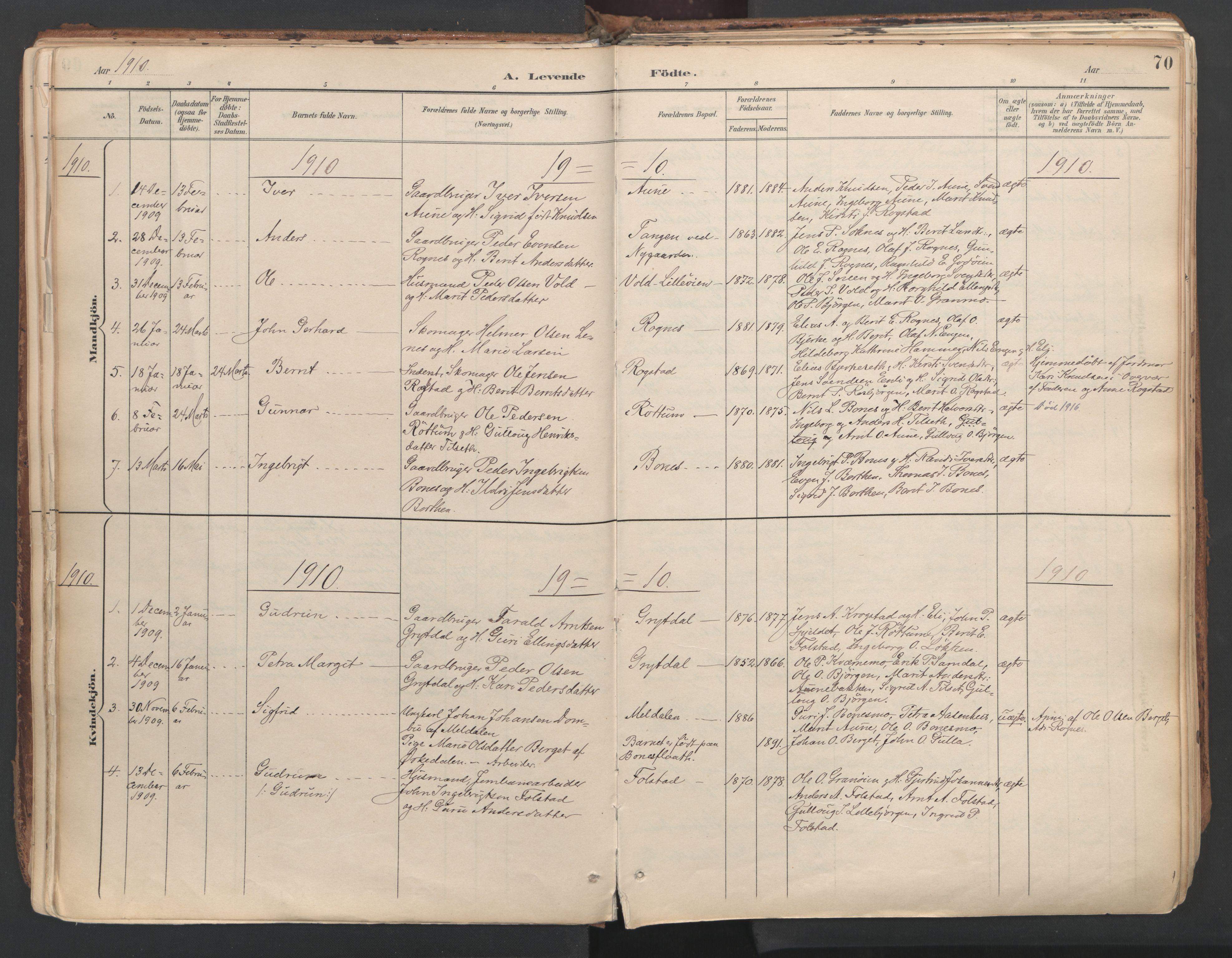 SAT, Ministerialprotokoller, klokkerbøker og fødselsregistre - Sør-Trøndelag, 687/L1004: Ministerialbok nr. 687A10, 1891-1923, s. 70