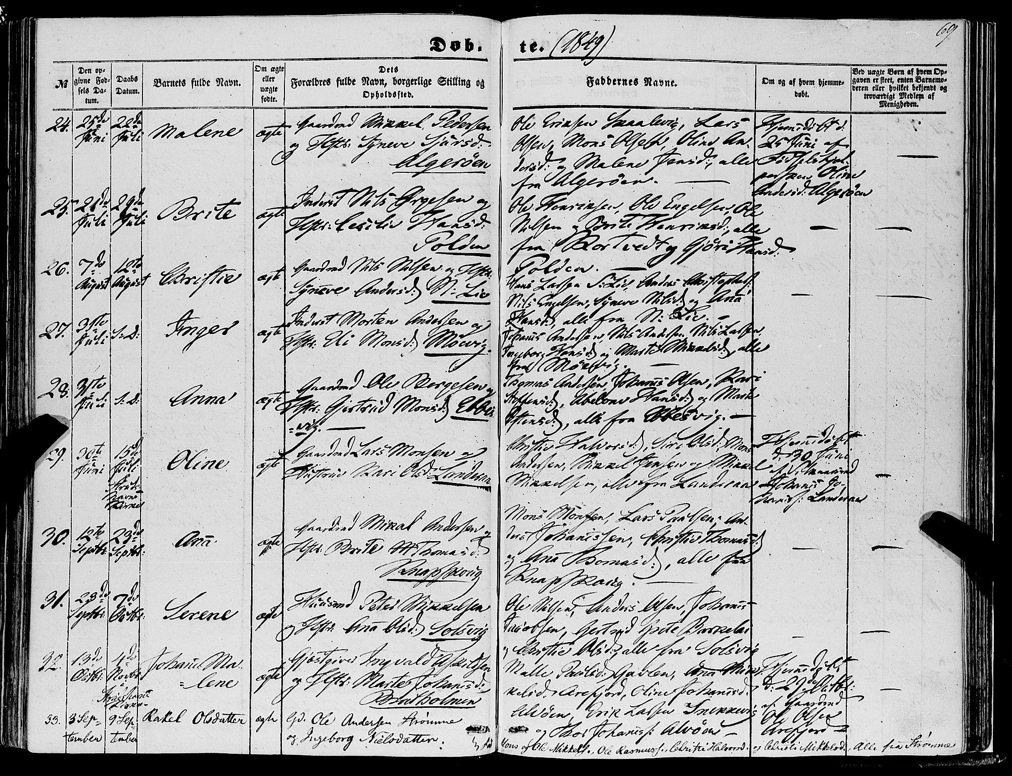SAB, Fjell Sokneprestembete, H/Haa: Ministerialbok nr. A 2, 1847-1864, s. 69