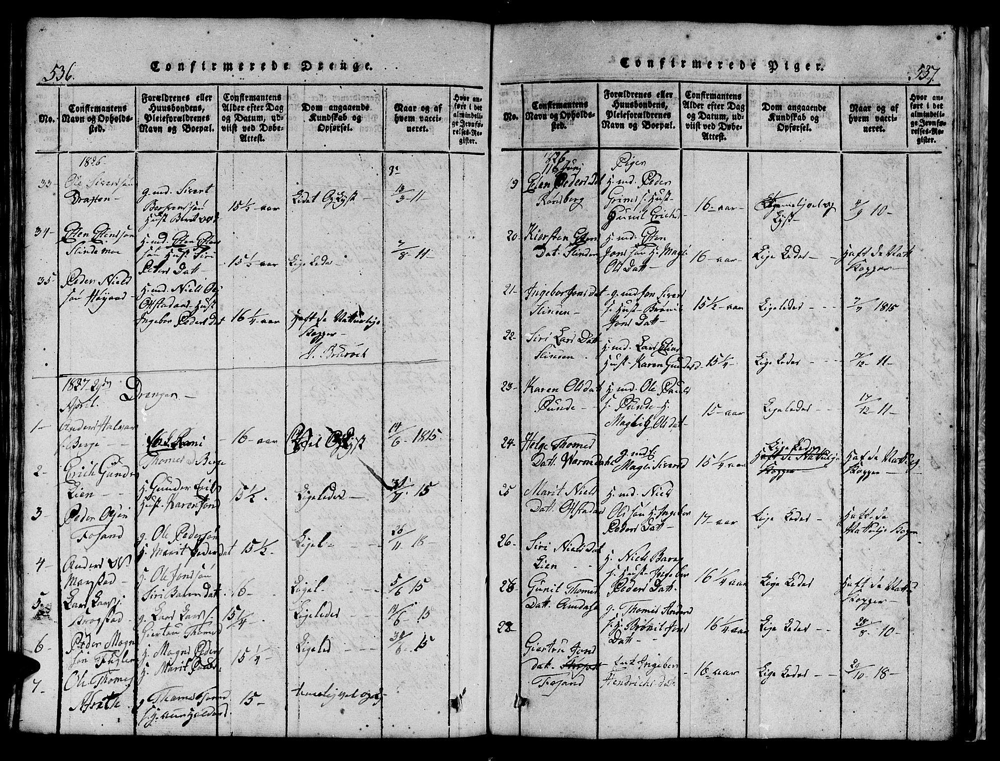 SAT, Ministerialprotokoller, klokkerbøker og fødselsregistre - Sør-Trøndelag, 695/L1152: Klokkerbok nr. 695C03, 1816-1831, s. 536-537