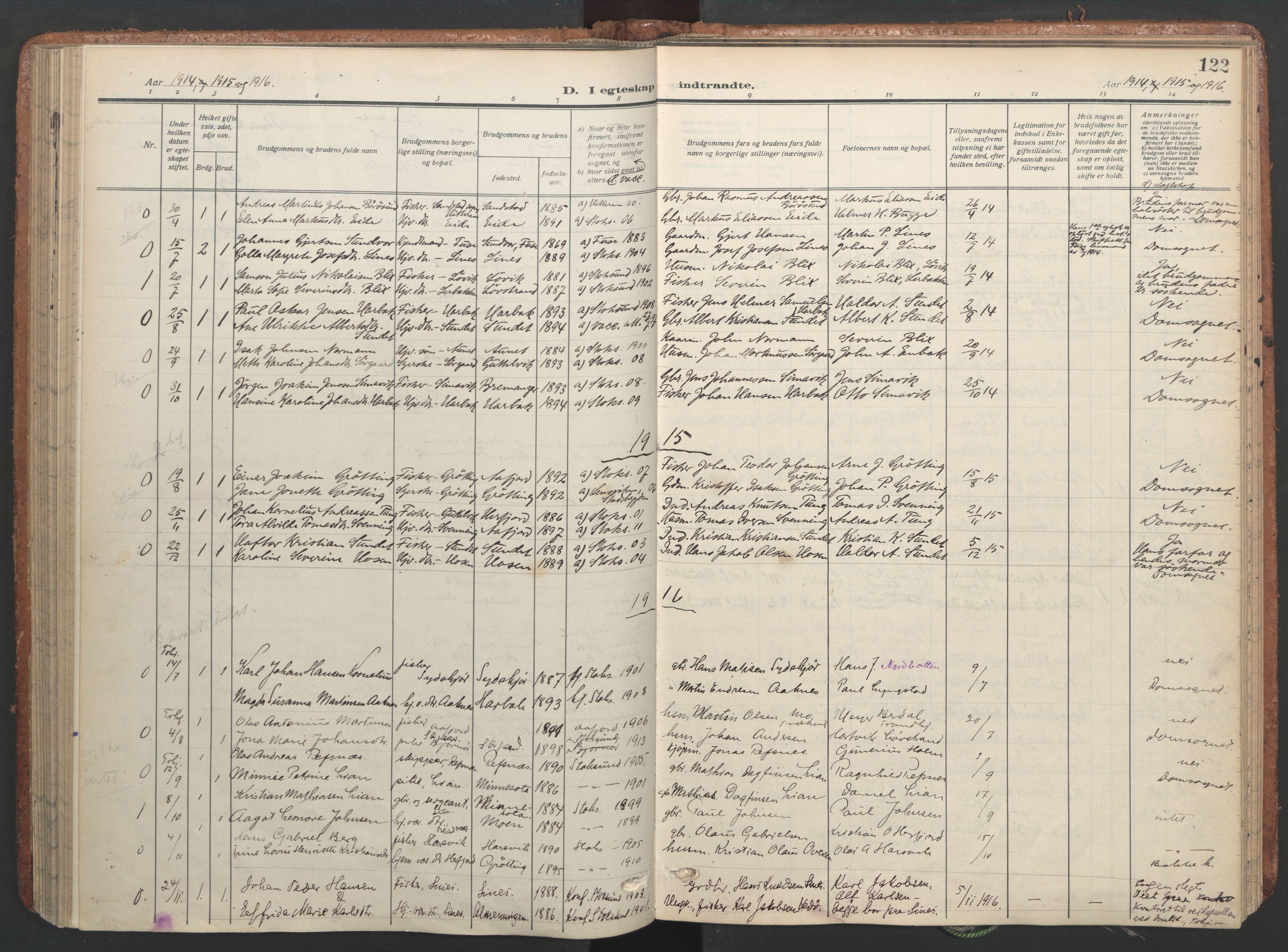 SAT, Ministerialprotokoller, klokkerbøker og fødselsregistre - Sør-Trøndelag, 656/L0694: Ministerialbok nr. 656A03, 1914-1931, s. 122