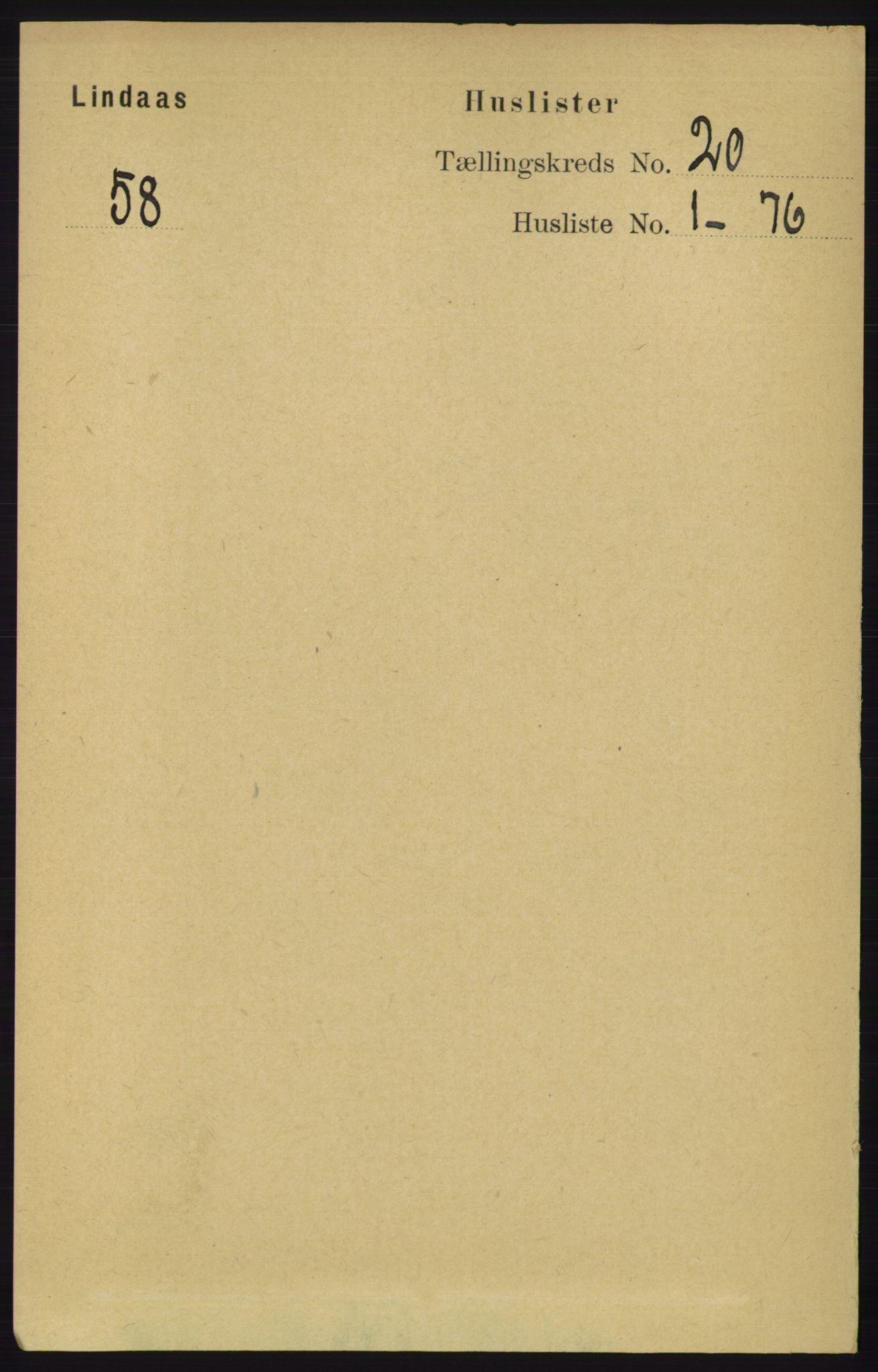 RA, Folketelling 1891 for 1263 Lindås herred, 1891, s. 7272