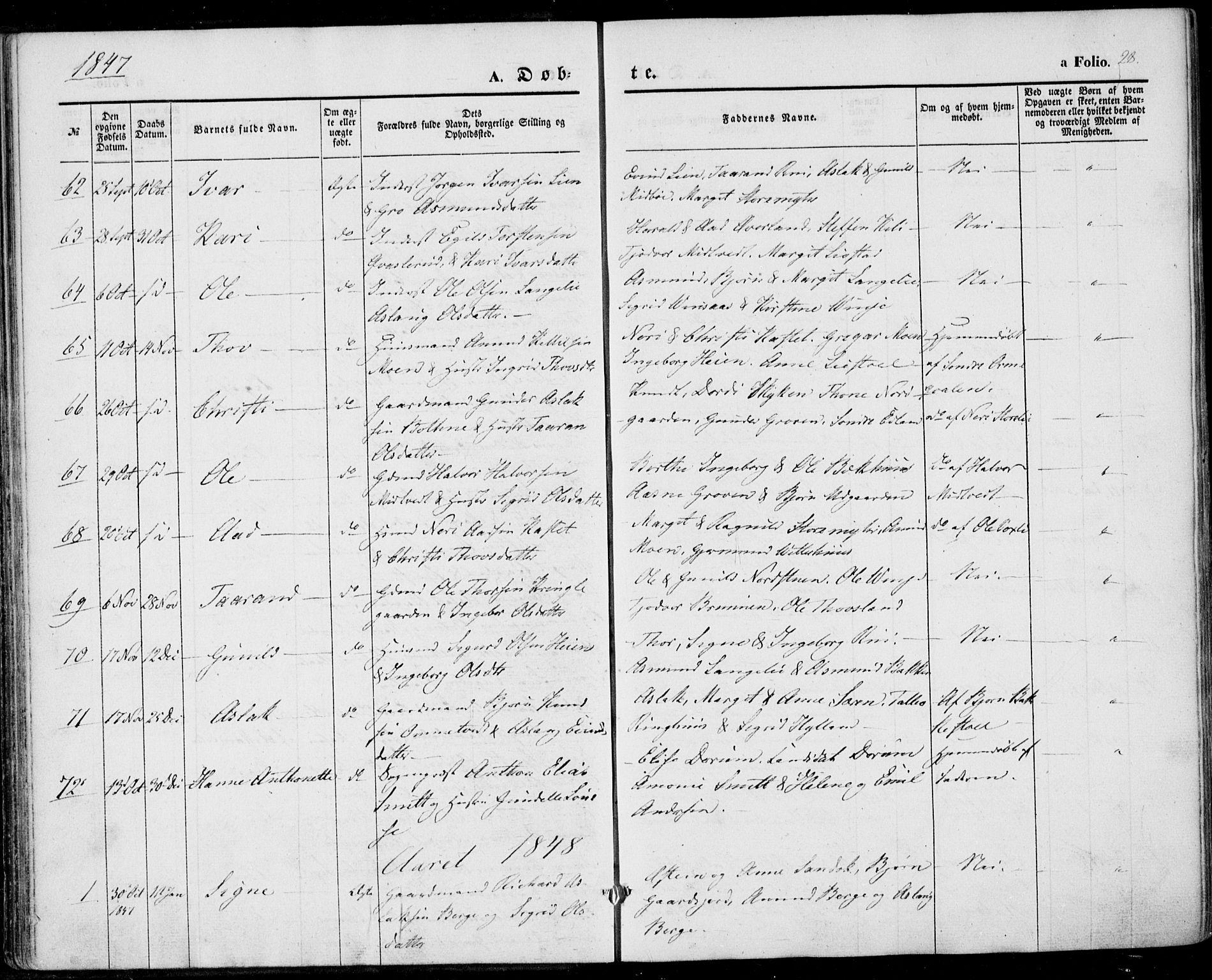 SAKO, Vinje kirkebøker, F/Fa/L0004: Ministerialbok nr. I 4, 1843-1869, s. 28