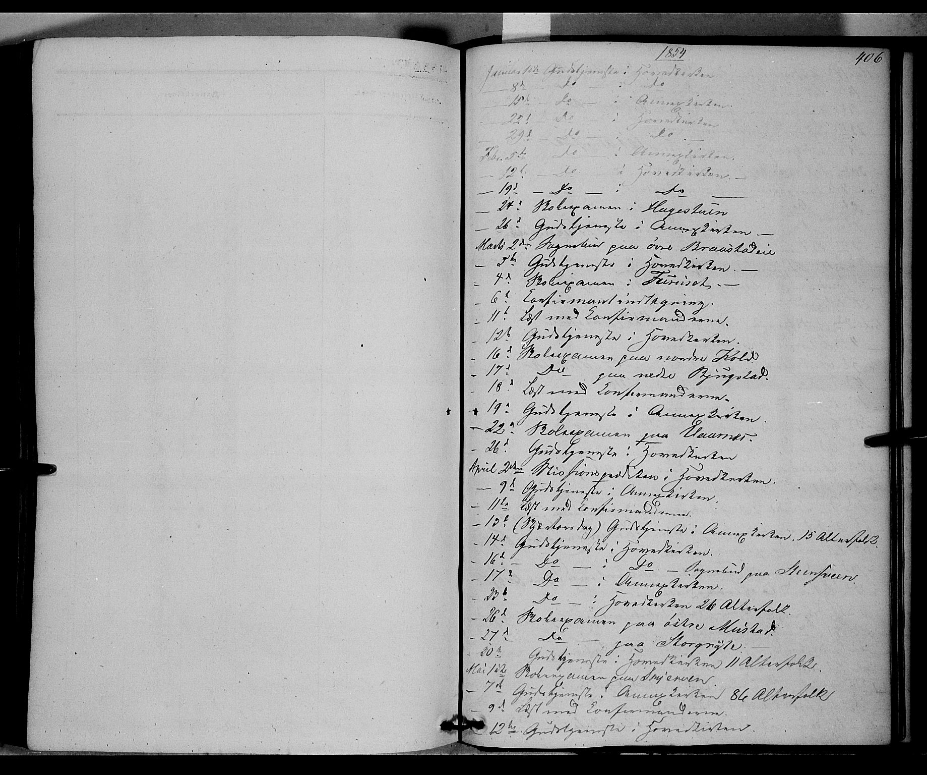 SAH, Vardal prestekontor, H/Ha/Haa/L0006: Ministerialbok nr. 6, 1854-1866, s. 406