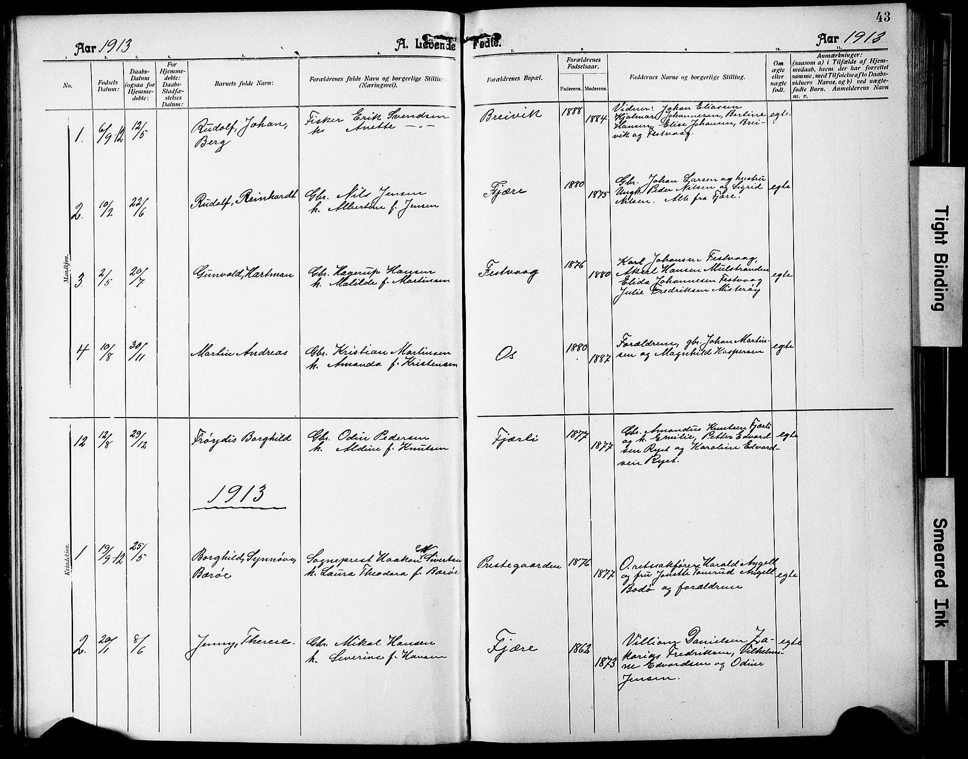 SAT, Ministerialprotokoller, klokkerbøker og fødselsregistre - Nordland, 803/L0077: Klokkerbok nr. 803C04, 1897-1930, s. 43