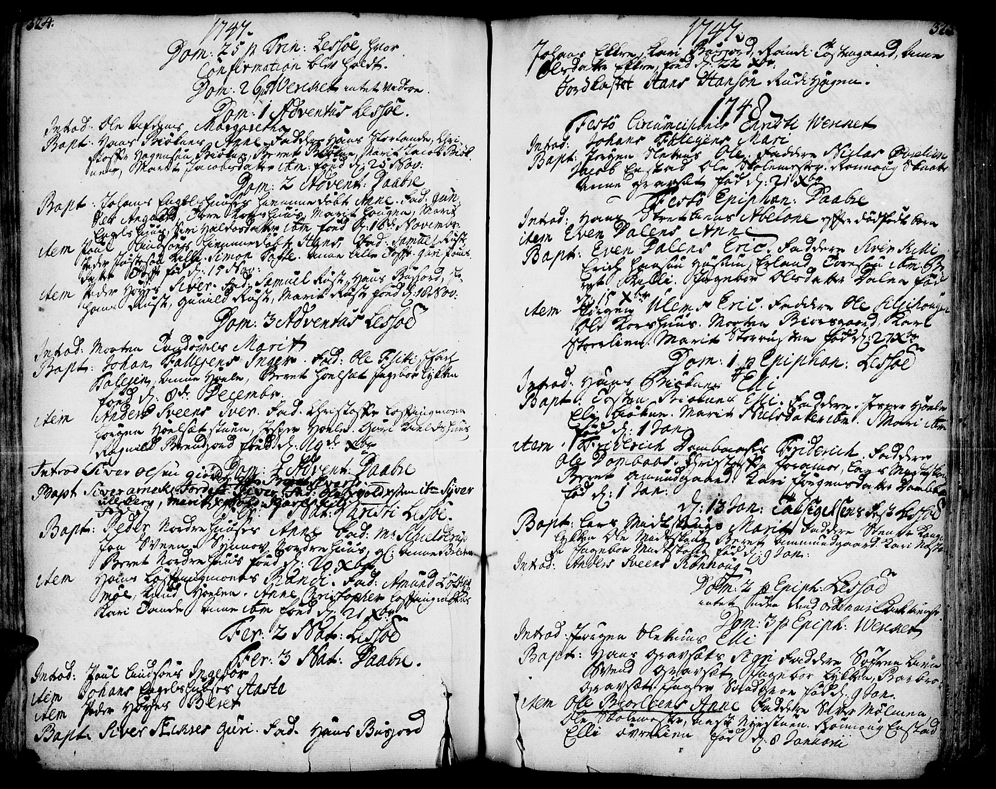 SAH, Lesja prestekontor, Ministerialbok nr. 2, 1732-1776, s. 324-325