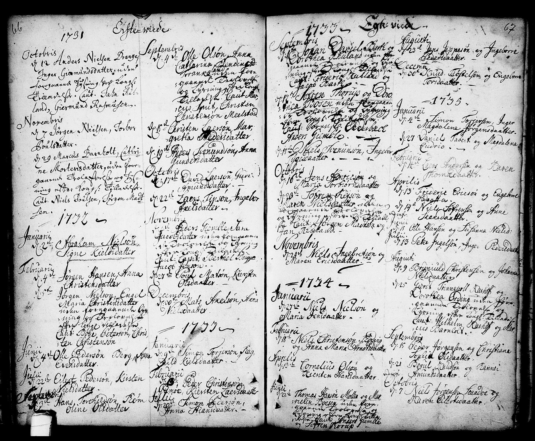 SAKO, Kragerø kirkebøker, F/Fa/L0001: Ministerialbok nr. 1, 1702-1766, s. 66-67