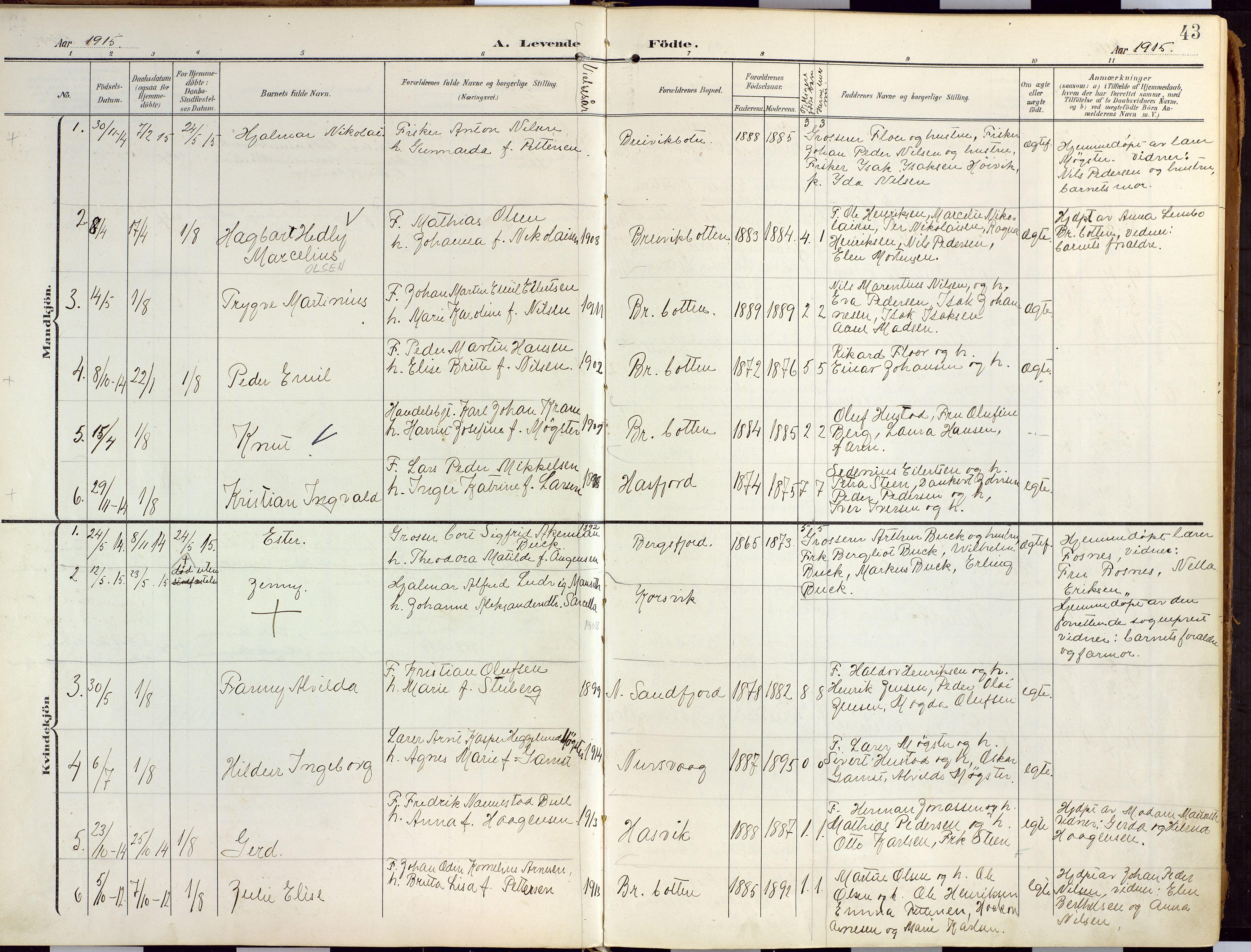 SATØ, Loppa sokneprestkontor, H/Ha/L0010kirke: Ministerialbok nr. 10, 1907-1922, s. 43