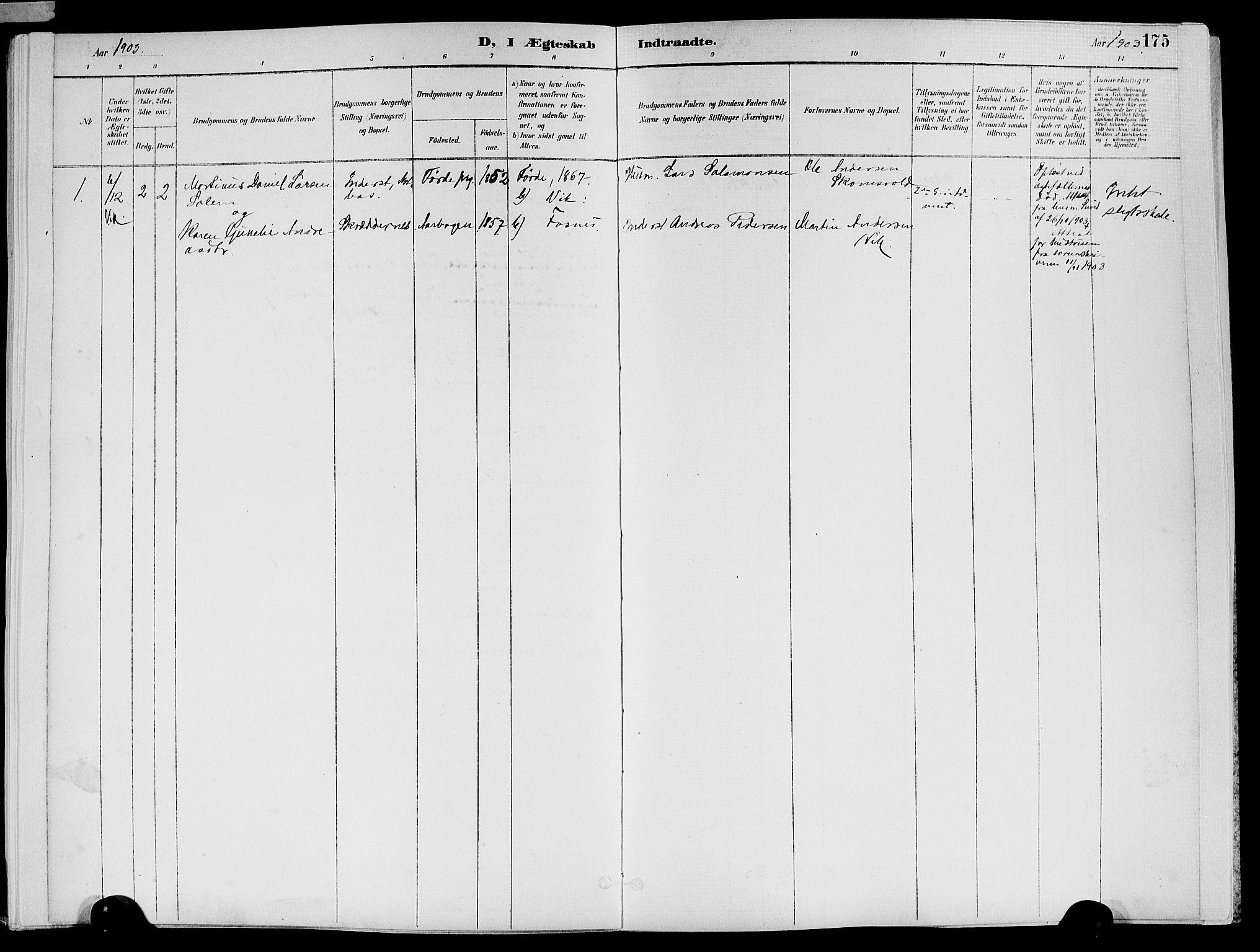 SAT, Ministerialprotokoller, klokkerbøker og fødselsregistre - Nord-Trøndelag, 773/L0617: Ministerialbok nr. 773A08, 1887-1910, s. 175