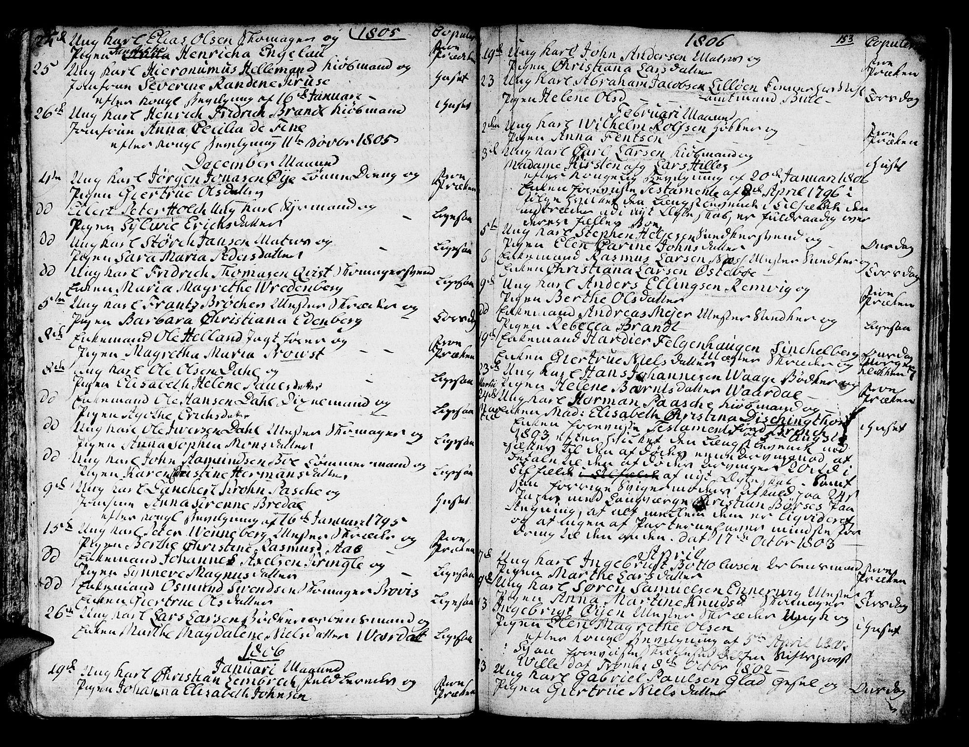 SAB, Domkirken Sokneprestembete, H/Haa/L0007: Ministerialbok nr. A 7, 1725-1826, s. 152-153