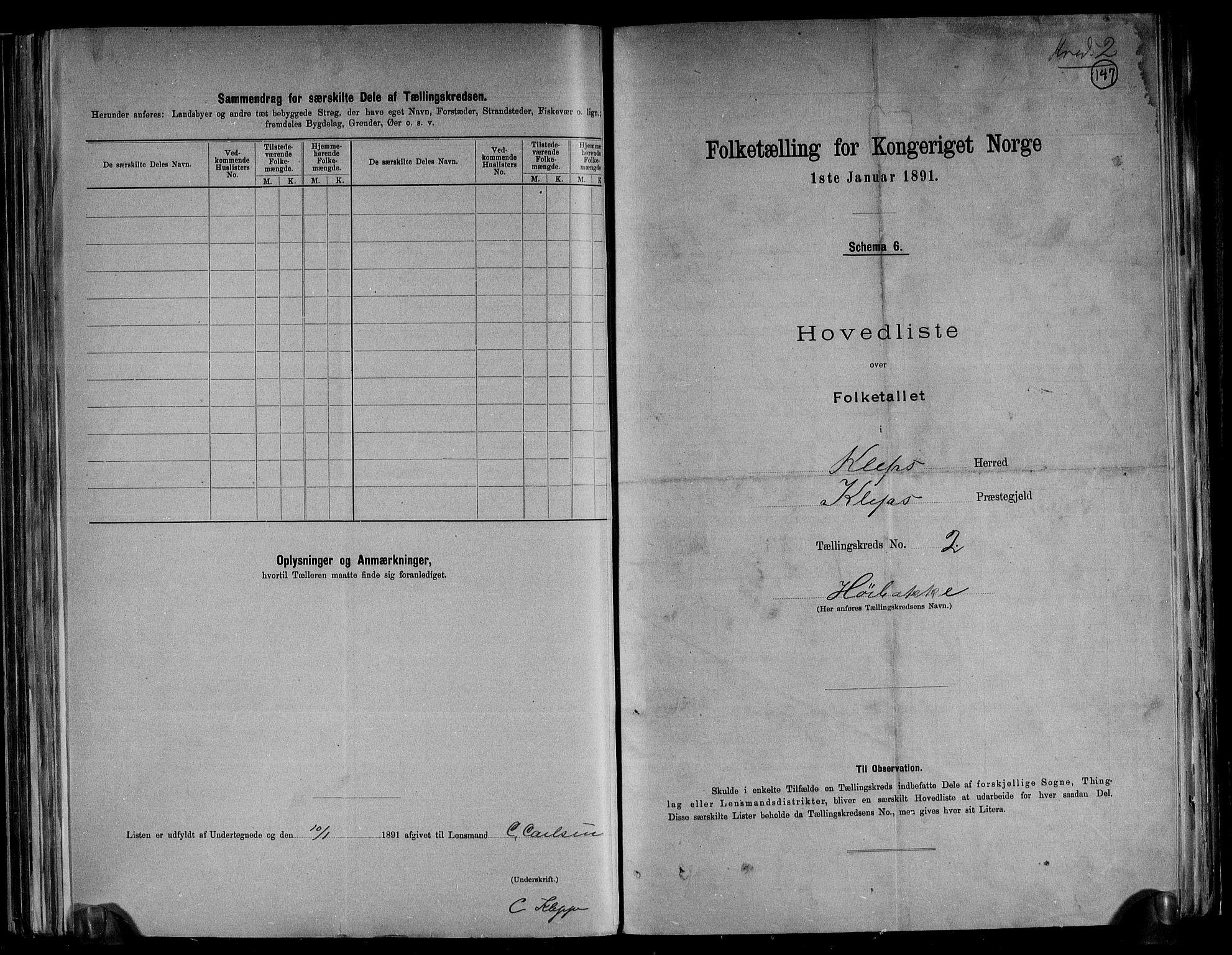 RA, Folketelling 1891 for 1120 Klepp herred, 1891, s. 8