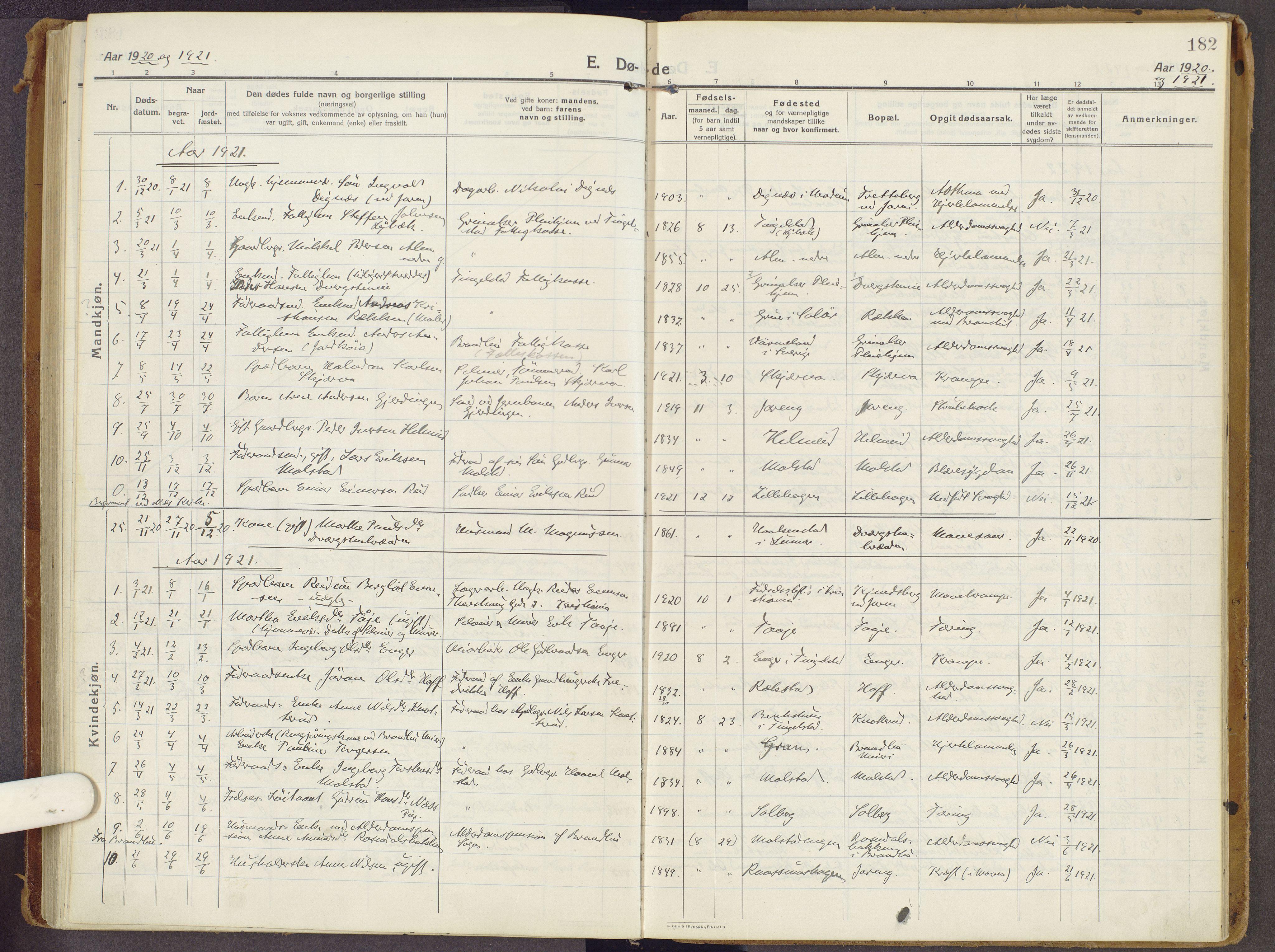 SAH, Brandbu prestekontor, Ministerialbok nr. 3, 1914-1928, s. 182