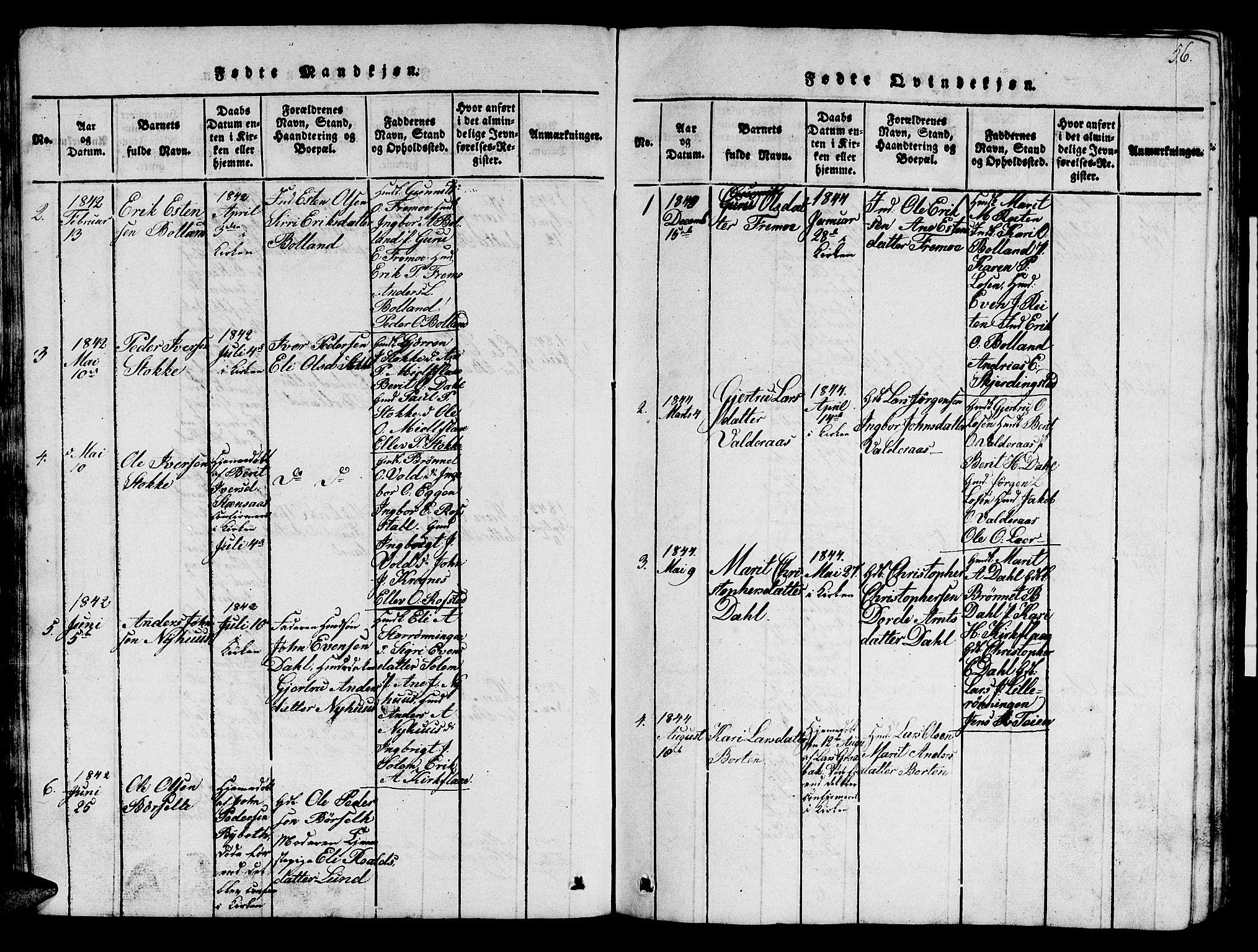 SAT, Ministerialprotokoller, klokkerbøker og fødselsregistre - Sør-Trøndelag, 693/L1121: Klokkerbok nr. 693C02, 1816-1869, s. 56