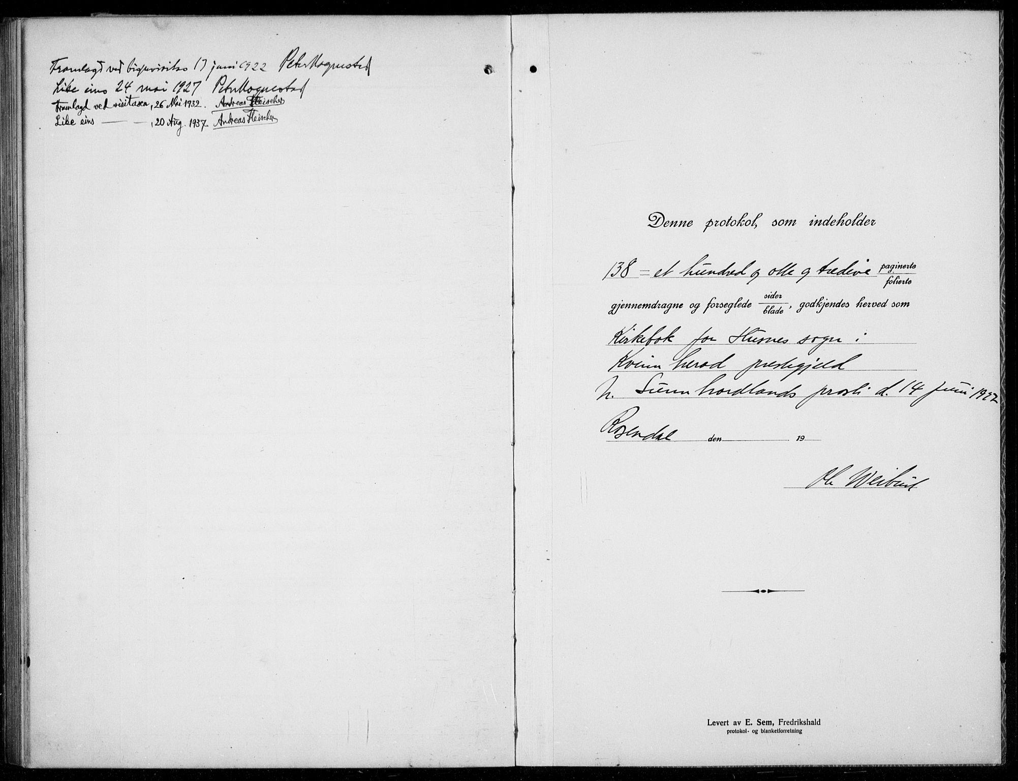 SAB, Husnes Sokneprestembete, H/Hab: Klokkerbok nr. A  3, 1915-1936