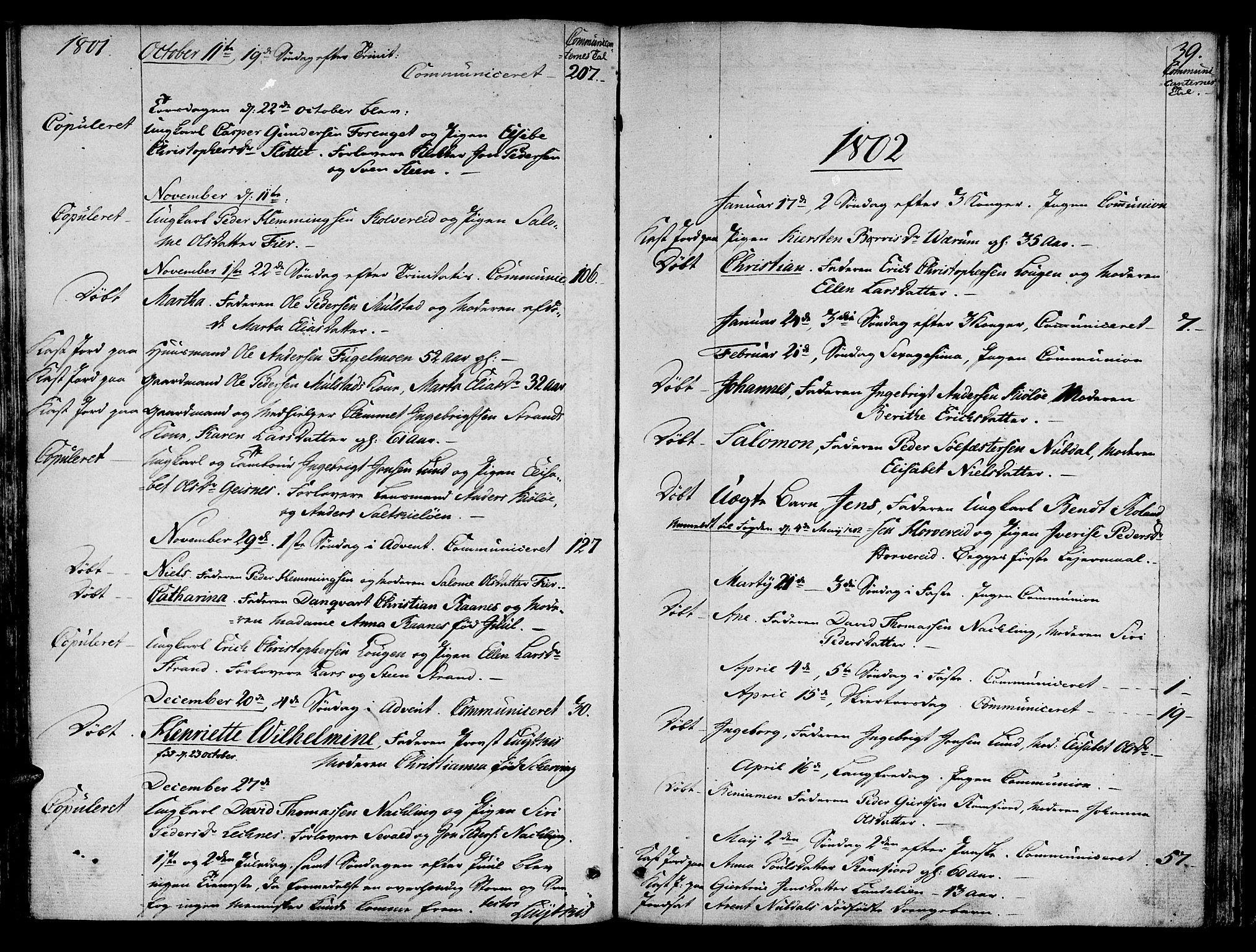 SAT, Ministerialprotokoller, klokkerbøker og fødselsregistre - Nord-Trøndelag, 780/L0633: Ministerialbok nr. 780A02 /1, 1787-1814, s. 39