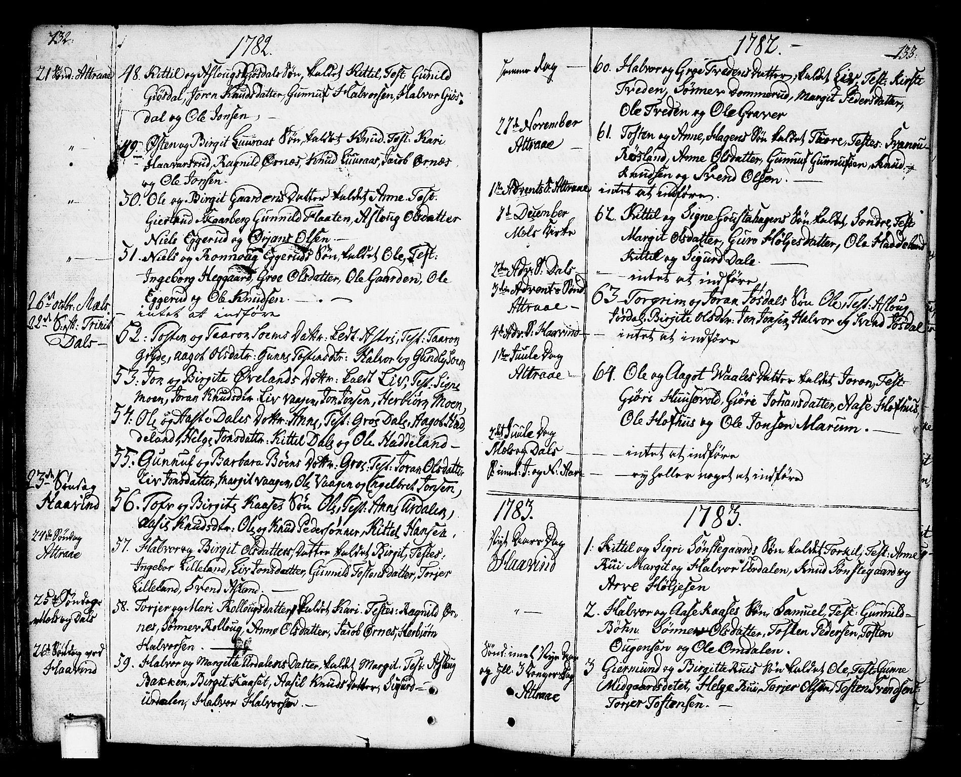 SAKO, Tinn kirkebøker, F/Fa/L0002: Ministerialbok nr. I 2, 1757-1810, s. 132-133