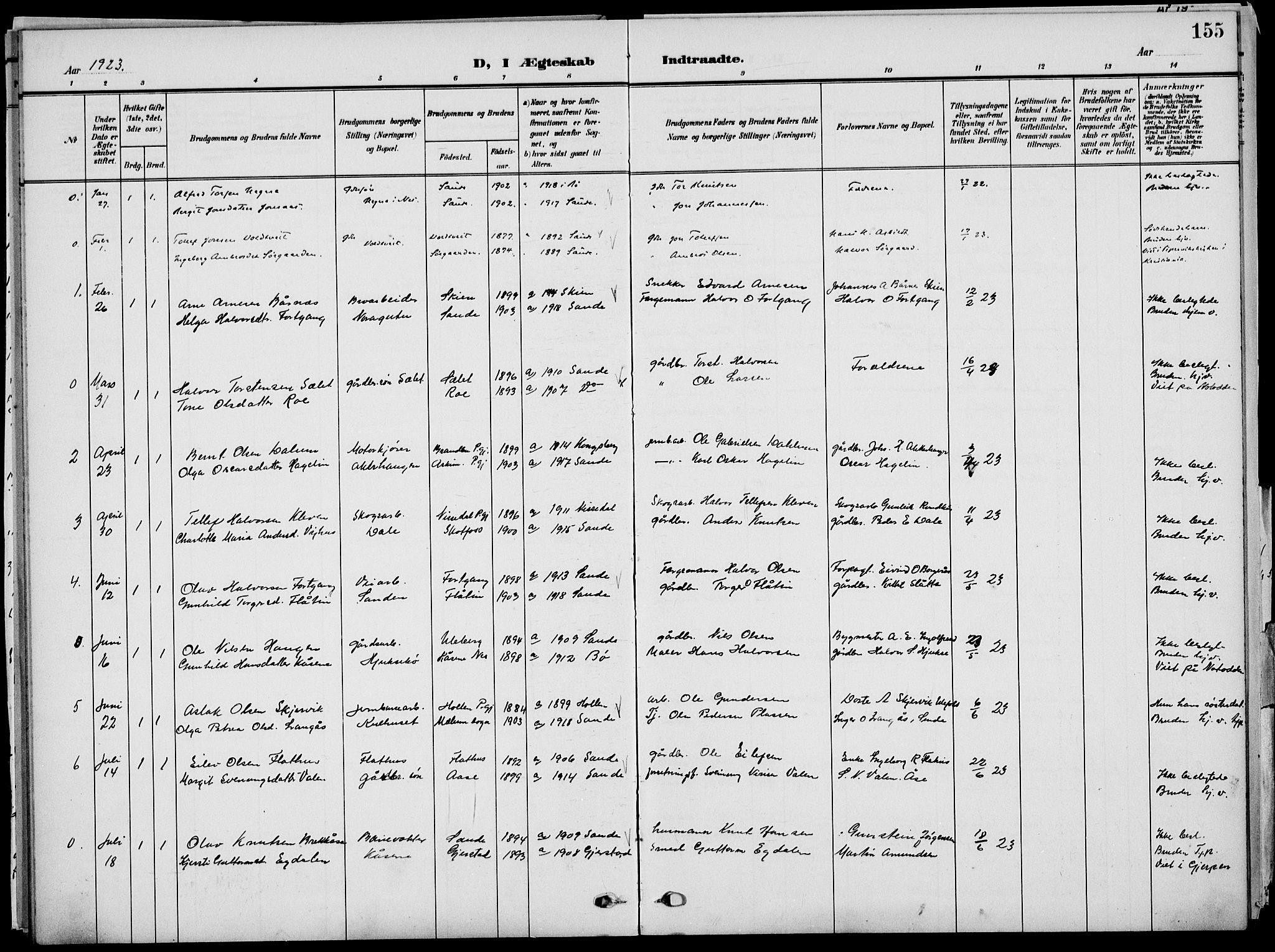 SAKO, Sauherad kirkebøker, G/Ga/L0004a: Klokkerbok nr. I 4, 1906-1934, s. 155