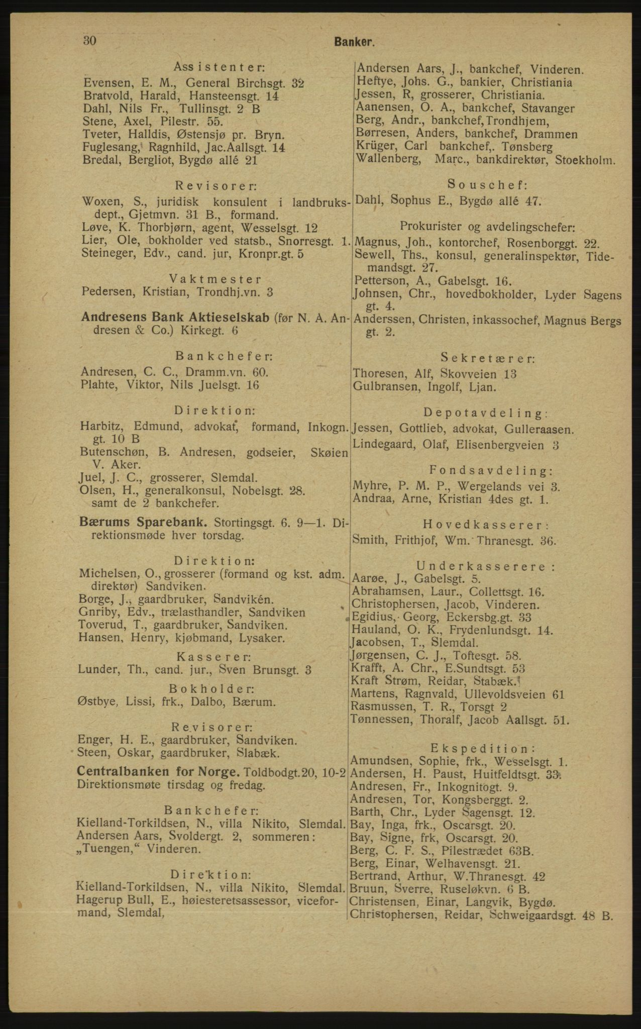 RA, Kristiania adressebok (publikasjon)*, 1913, s. 30