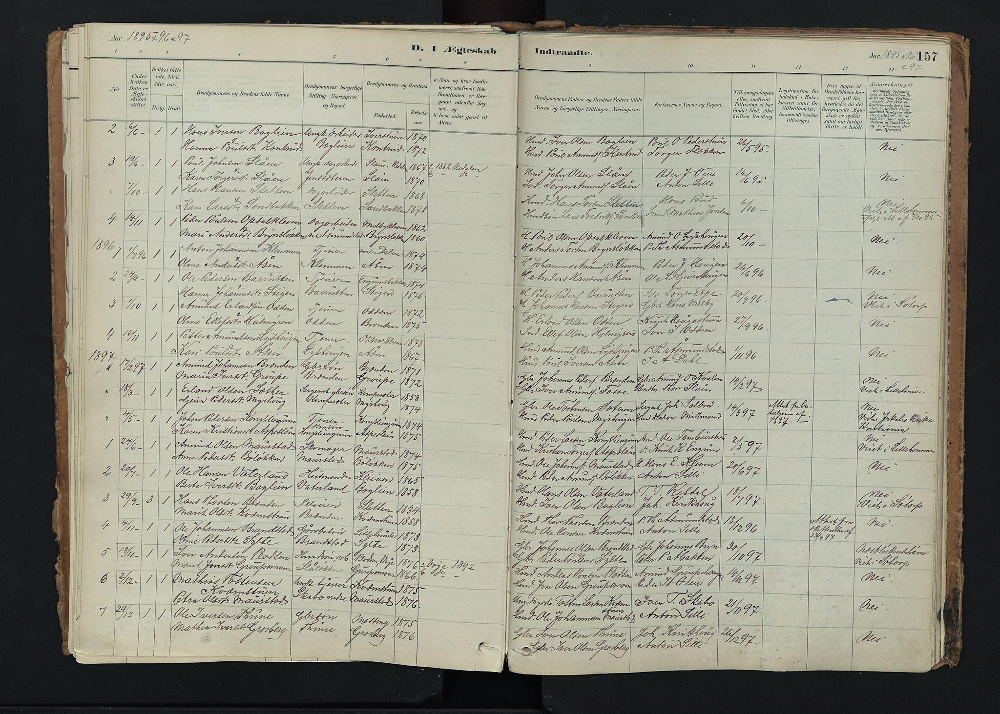 SAH, Nord-Fron prestekontor, Ministerialbok nr. 5, 1884-1914, s. 157
