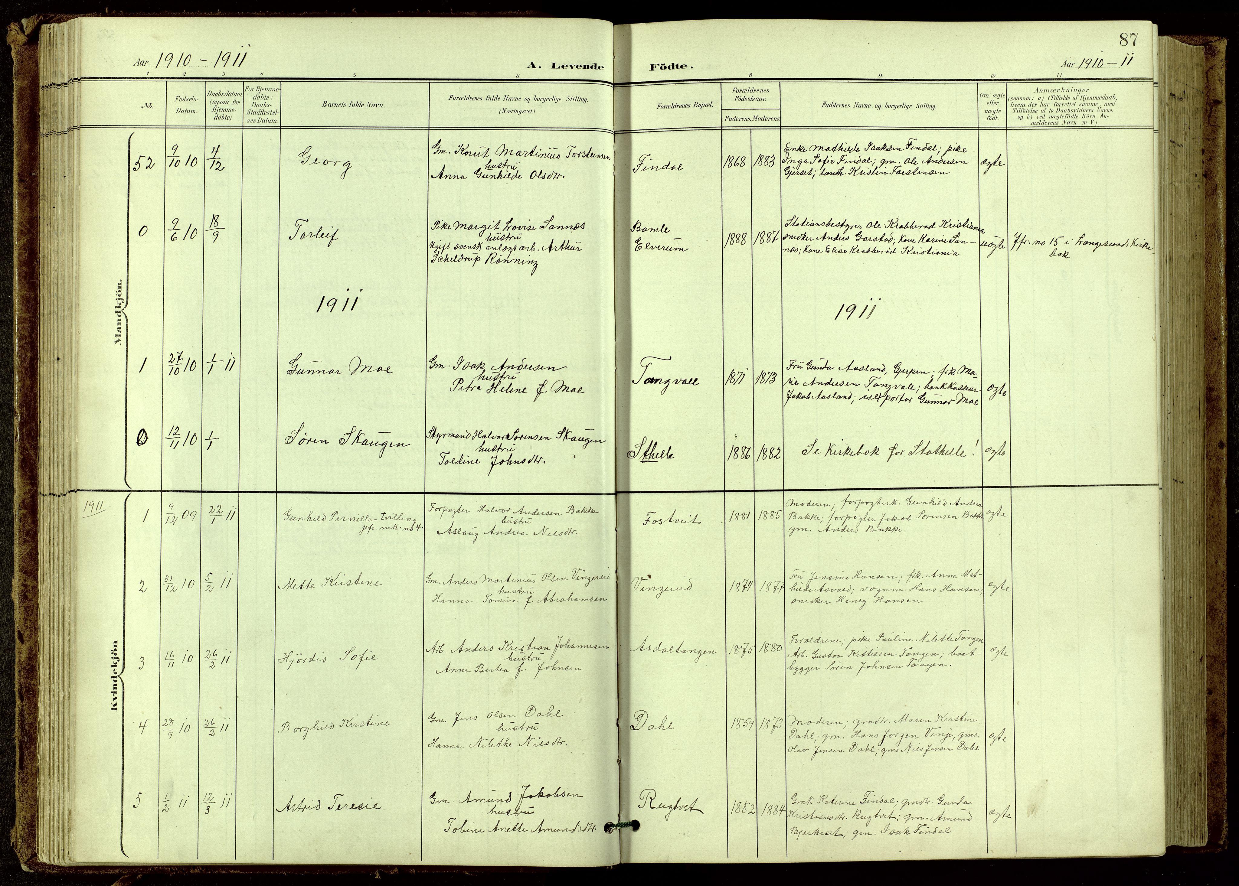 SAKO, Bamble kirkebøker, G/Ga/L0010: Klokkerbok nr. I 10, 1901-1919, s. 87
