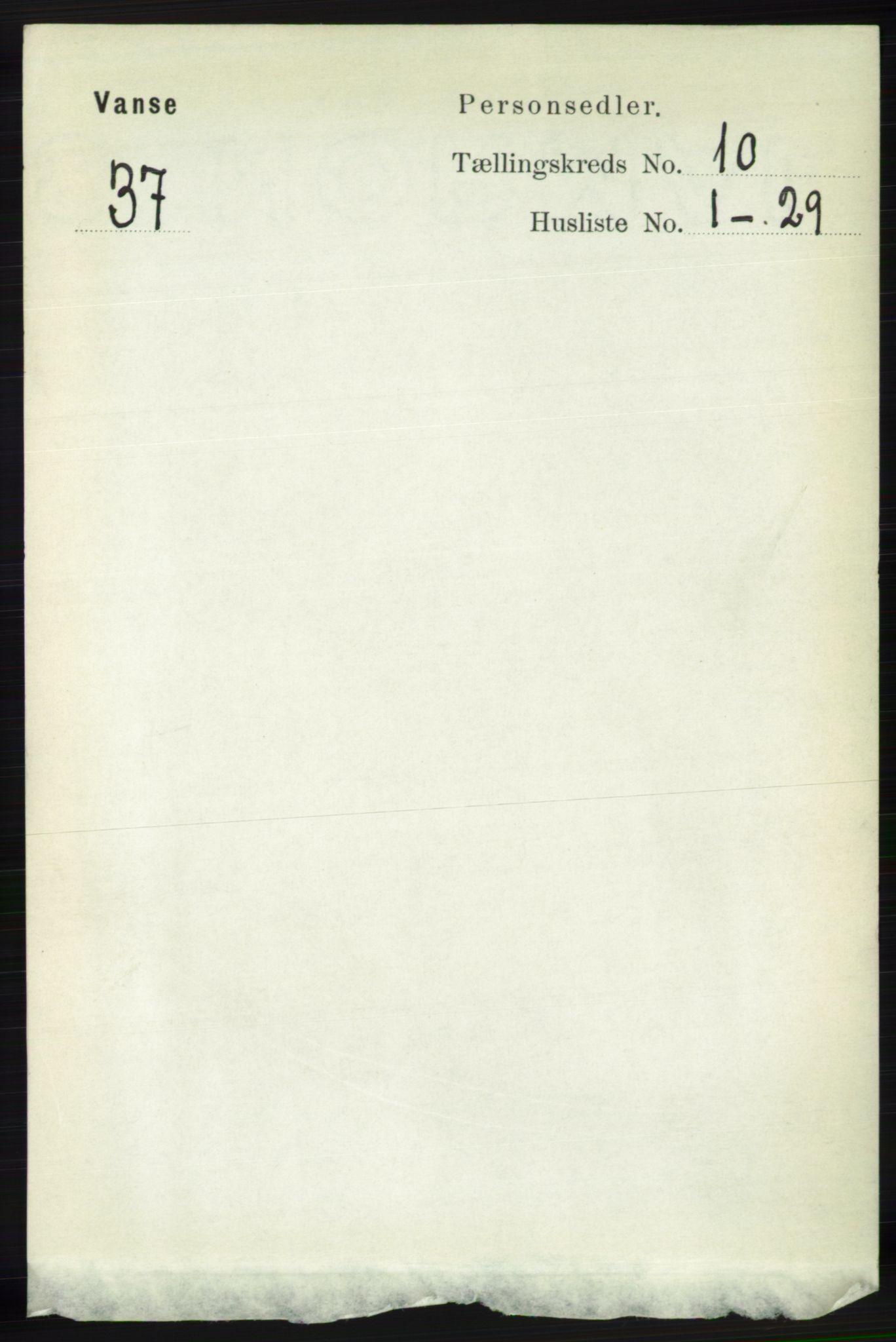 RA, Folketelling 1891 for 1041 Vanse herred, 1891, s. 5625