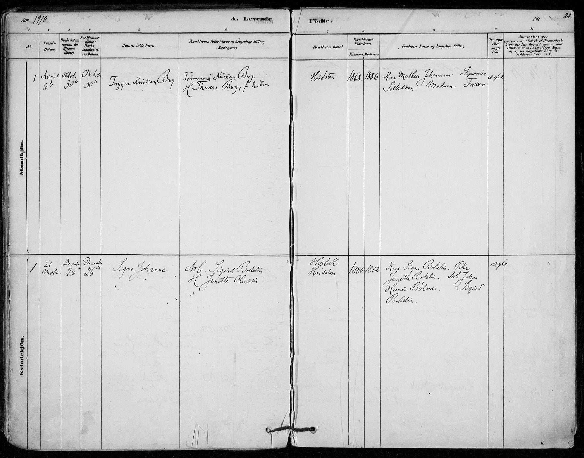 SAO, Vestby prestekontor Kirkebøker, F/Fd/L0001: Ministerialbok nr. IV 1, 1878-1945, s. 21