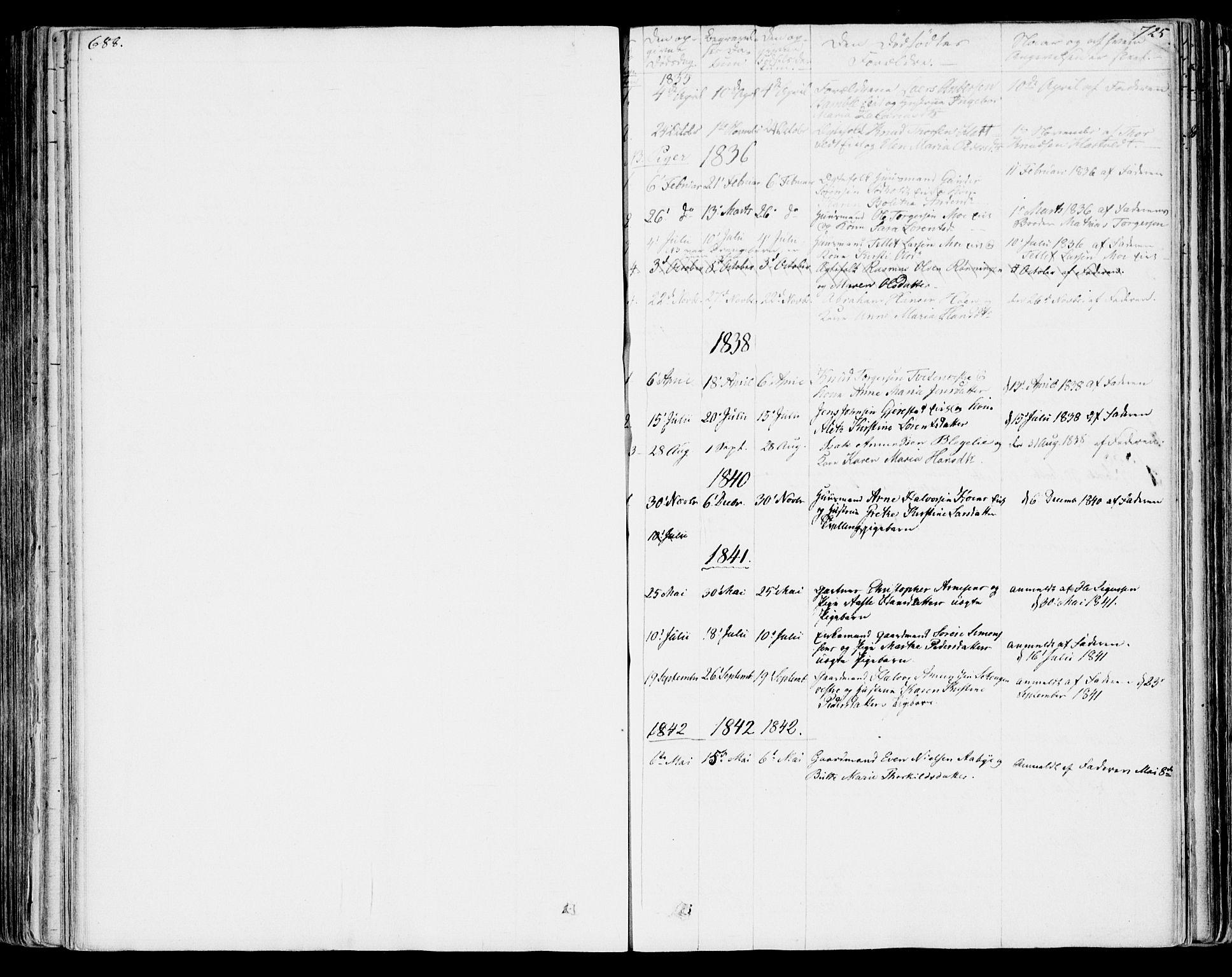 SAKO, Bamble kirkebøker, F/Fa/L0004: Ministerialbok nr. I 4, 1834-1853, s. 724-725