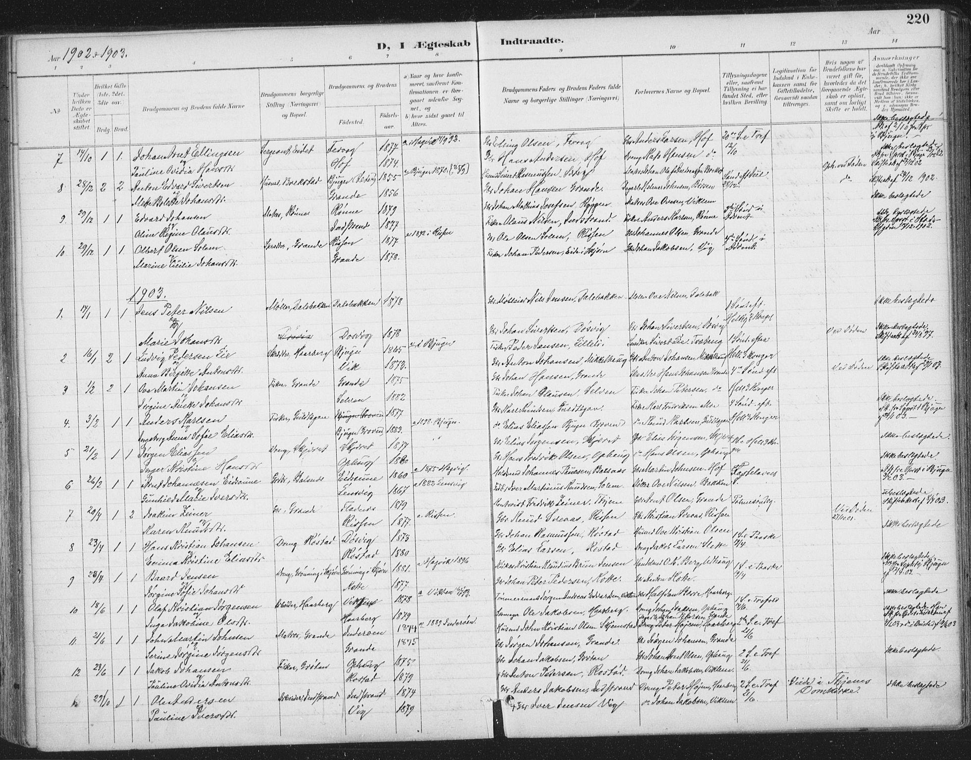 SAT, Ministerialprotokoller, klokkerbøker og fødselsregistre - Sør-Trøndelag, 659/L0743: Ministerialbok nr. 659A13, 1893-1910, s. 220