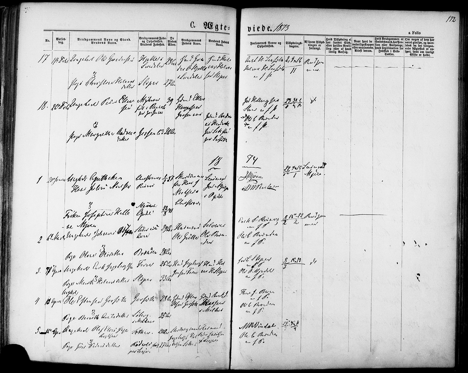 SAT, Ministerialprotokoller, klokkerbøker og fødselsregistre - Sør-Trøndelag, 678/L0900: Ministerialbok nr. 678A09, 1872-1881, s. 172