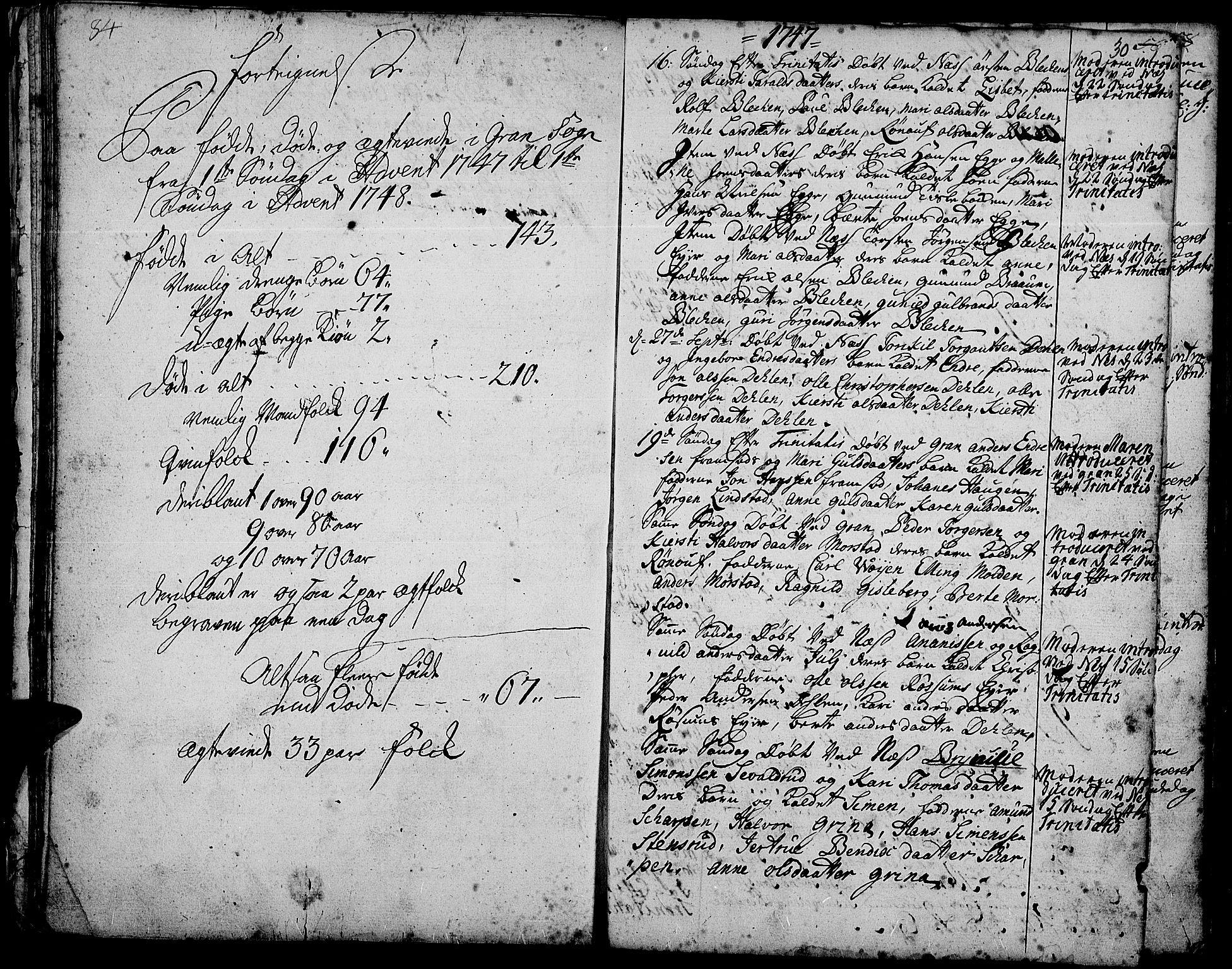 SAH, Gran prestekontor, Ministerialbok nr. 3, 1745-1758, s. 30