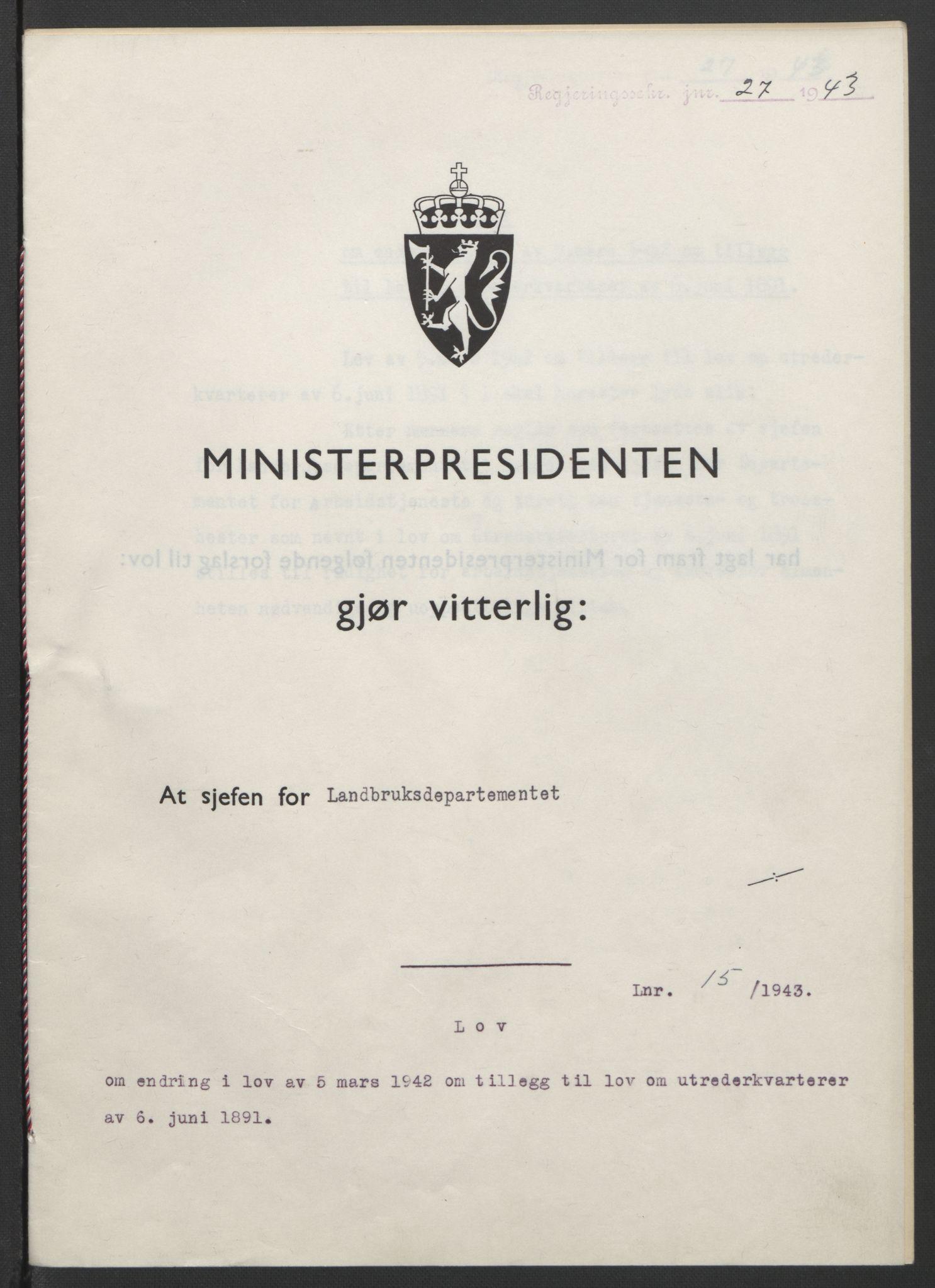 RA, NS-administrasjonen 1940-1945 (Statsrådsekretariatet, de kommisariske statsråder mm), D/Db/L0099: Lover, 1943, s. 59